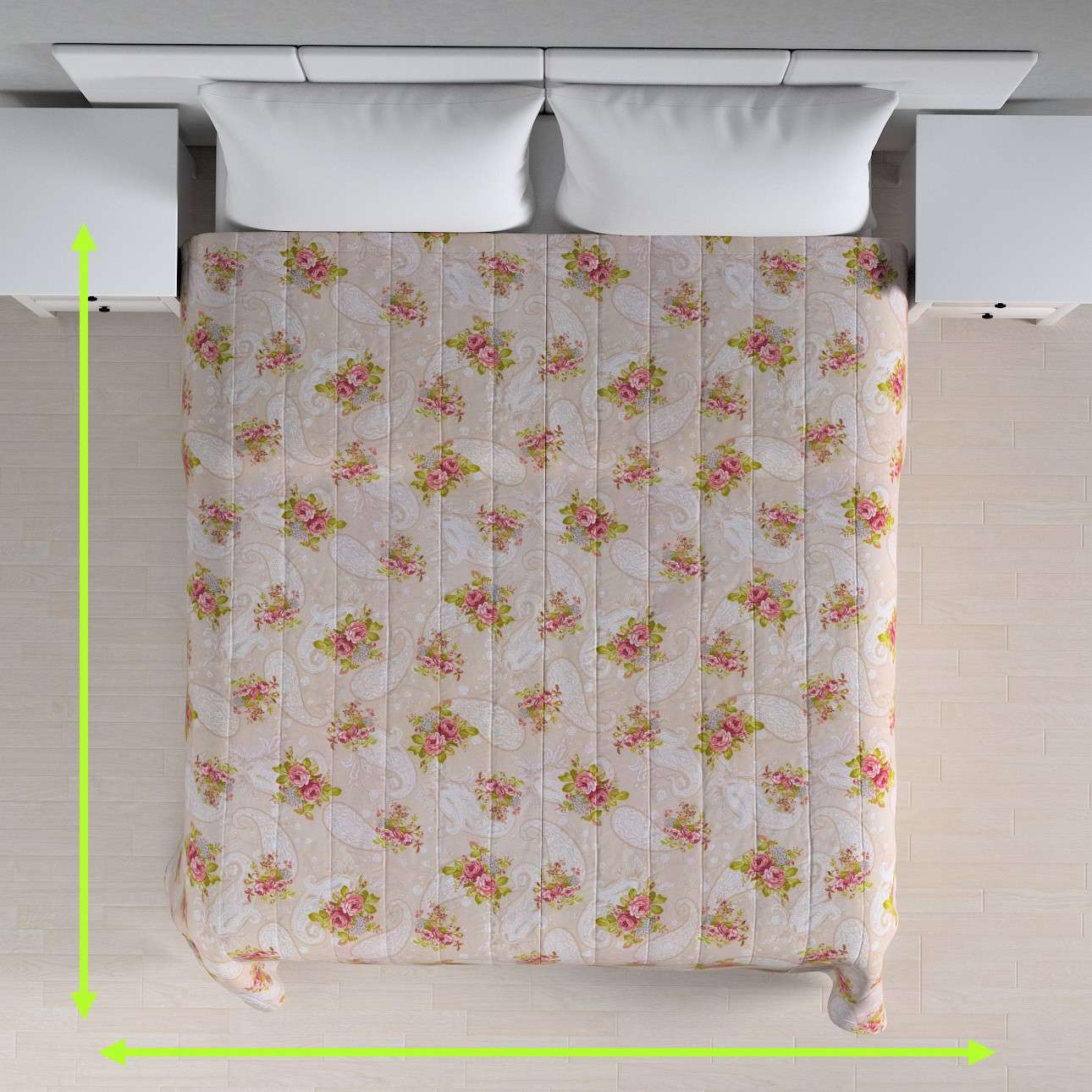 Quilted throw (vertical quilt pattern) in collection Flowers, fabric: 311-15