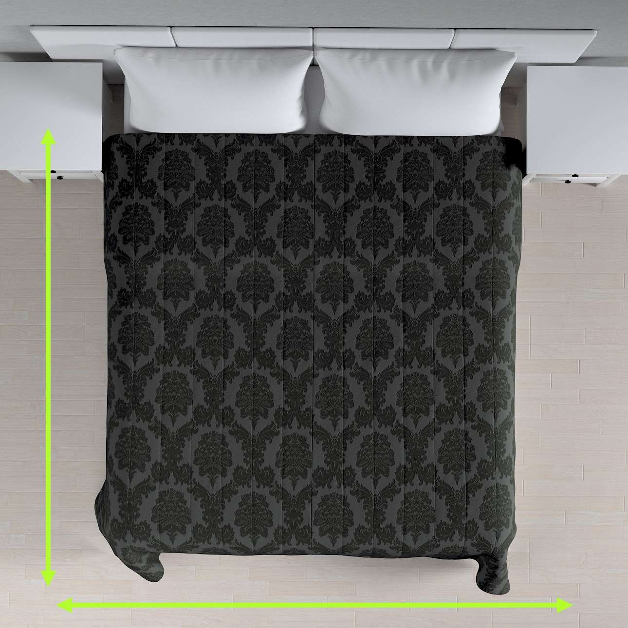 Quilted throw (vertical quilt pattern) in collection Damasco, fabric: 613-32