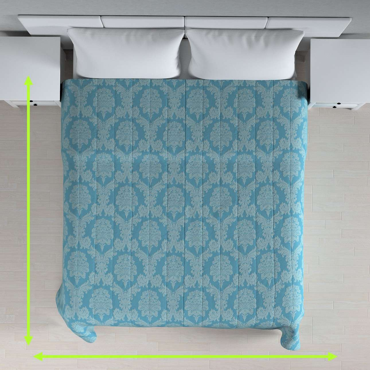 Quilted throw (vertical quilt pattern) in collection Damasco, fabric: 613-67