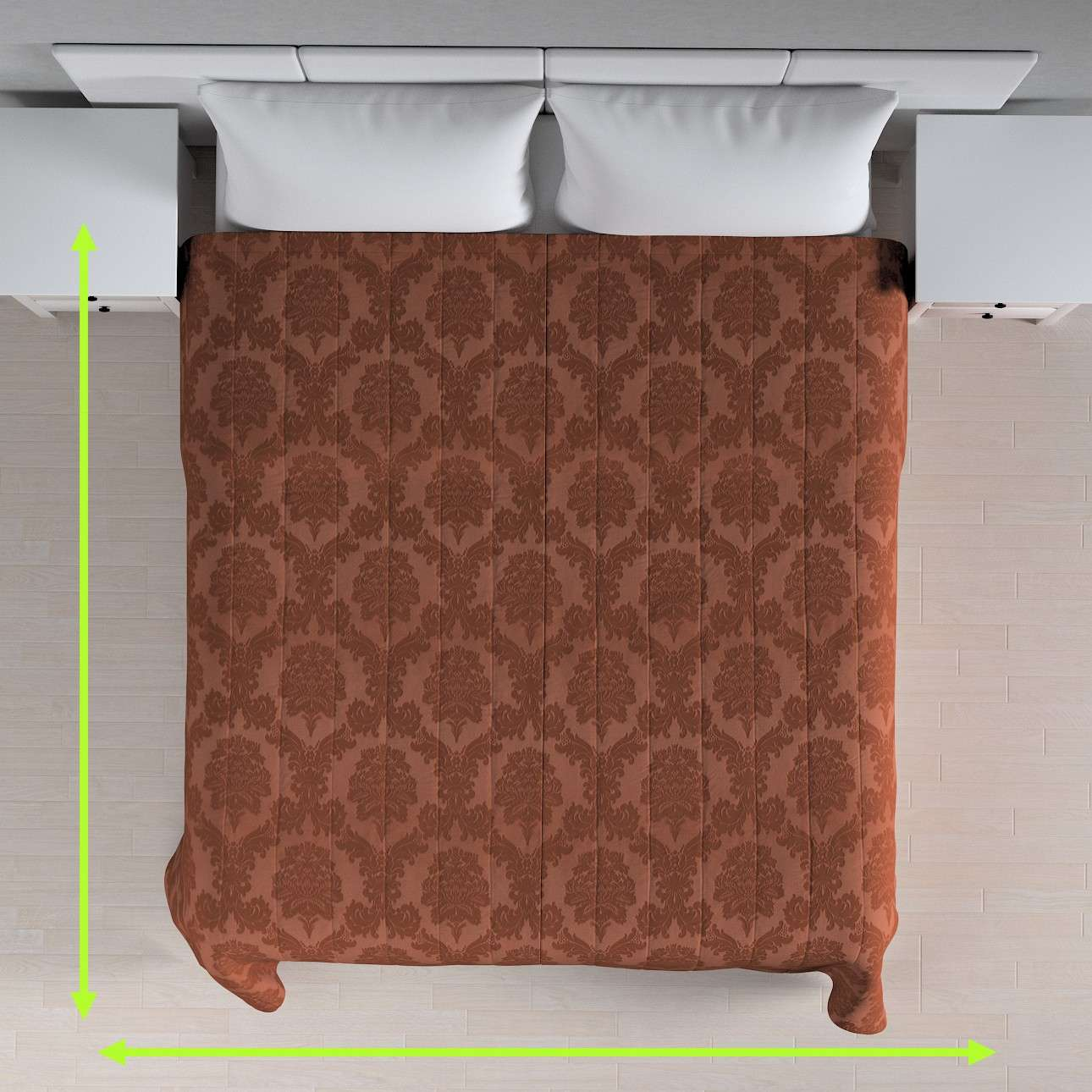 Quilted throw (vertical quilt pattern) in collection Damasco, fabric: 613-88