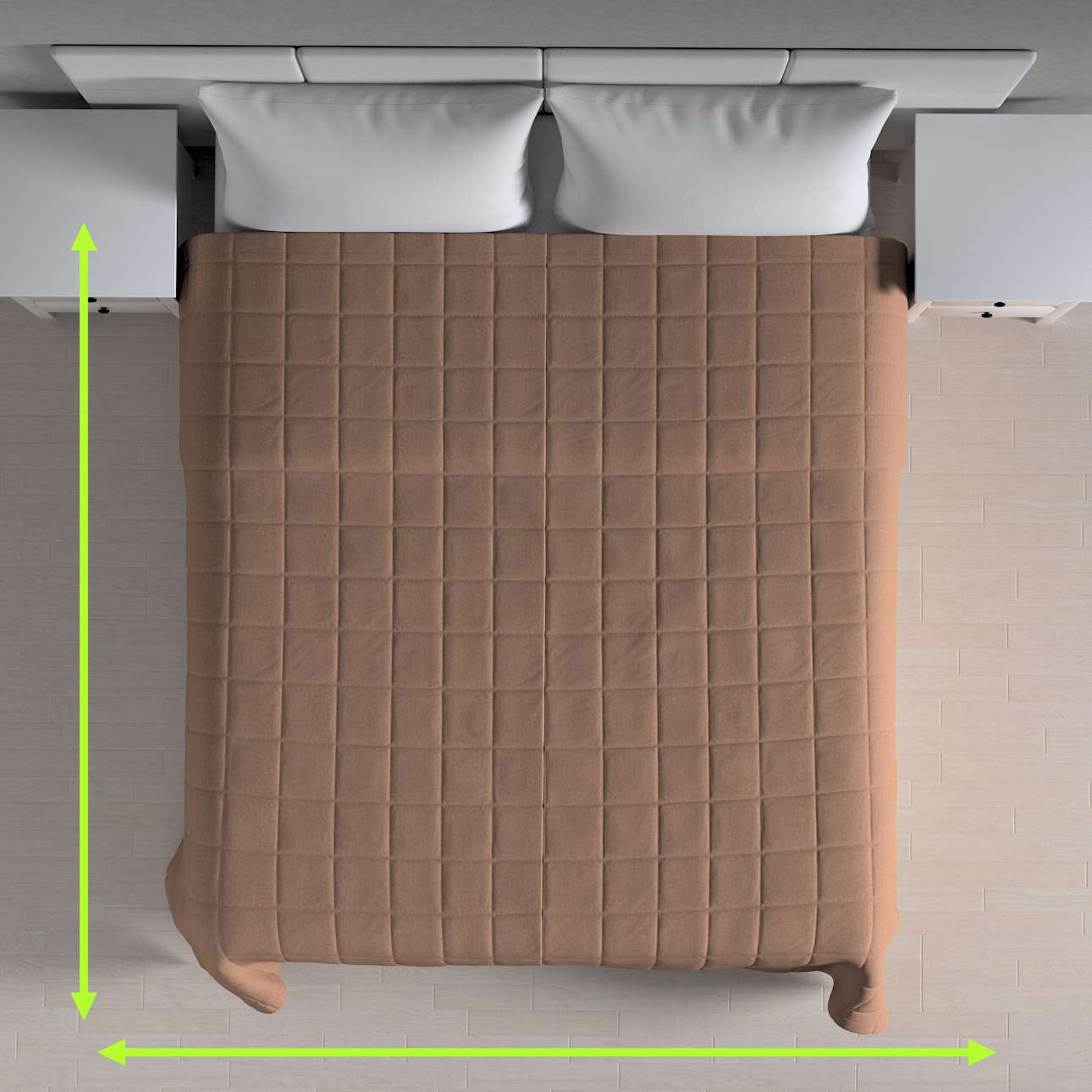Sengetæppe quiltet<br/>10x10cm tern fra kollektionen Chenille, Stof: 702-21
