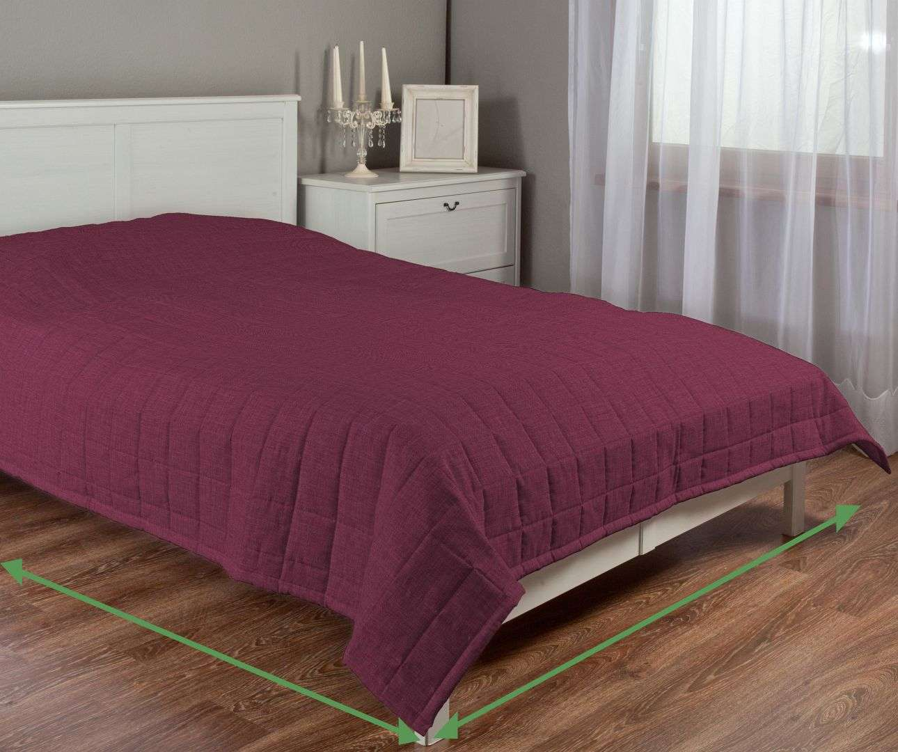 Quilted throw (check quilt pattern) in collection Porto, fabric: 160-44