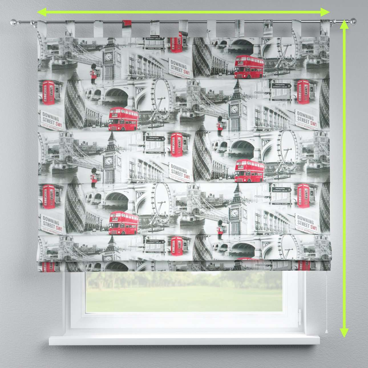 Verona tab top roman blind in collection Comic Book & Geo Prints, fabric: 111-04