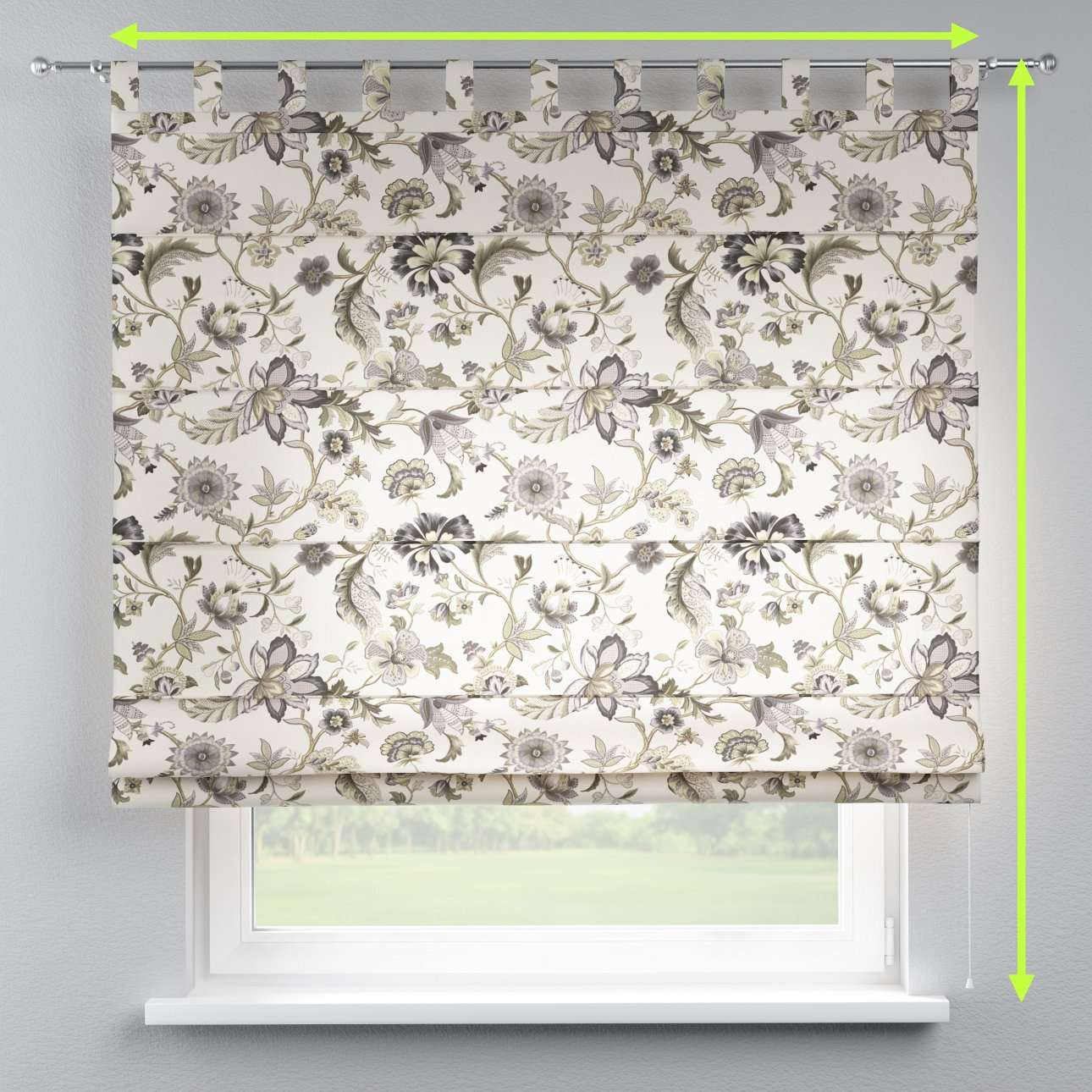 Verona tab top roman blind in collection Londres, fabric: 122-03