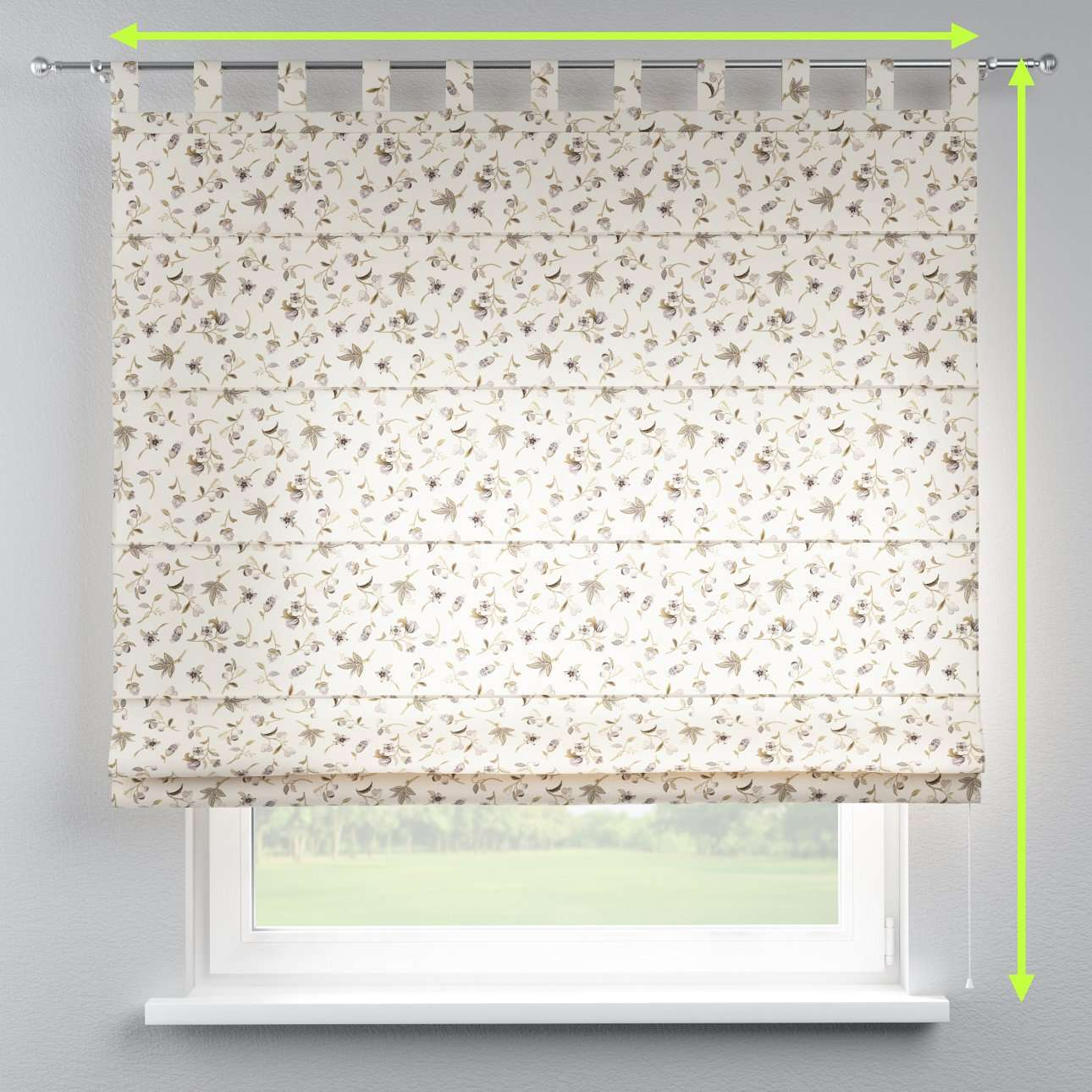 Verona tab top roman blind in collection Londres, fabric: 122-04