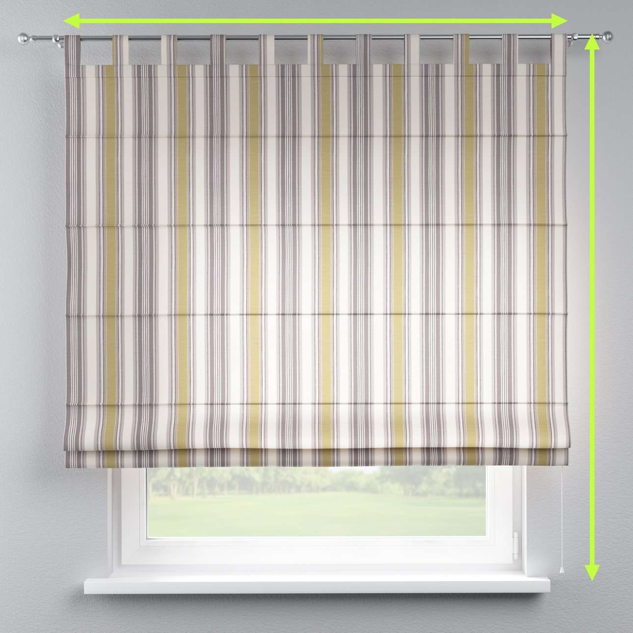 Verona tab top roman blind in collection Londres, fabric: 122-06