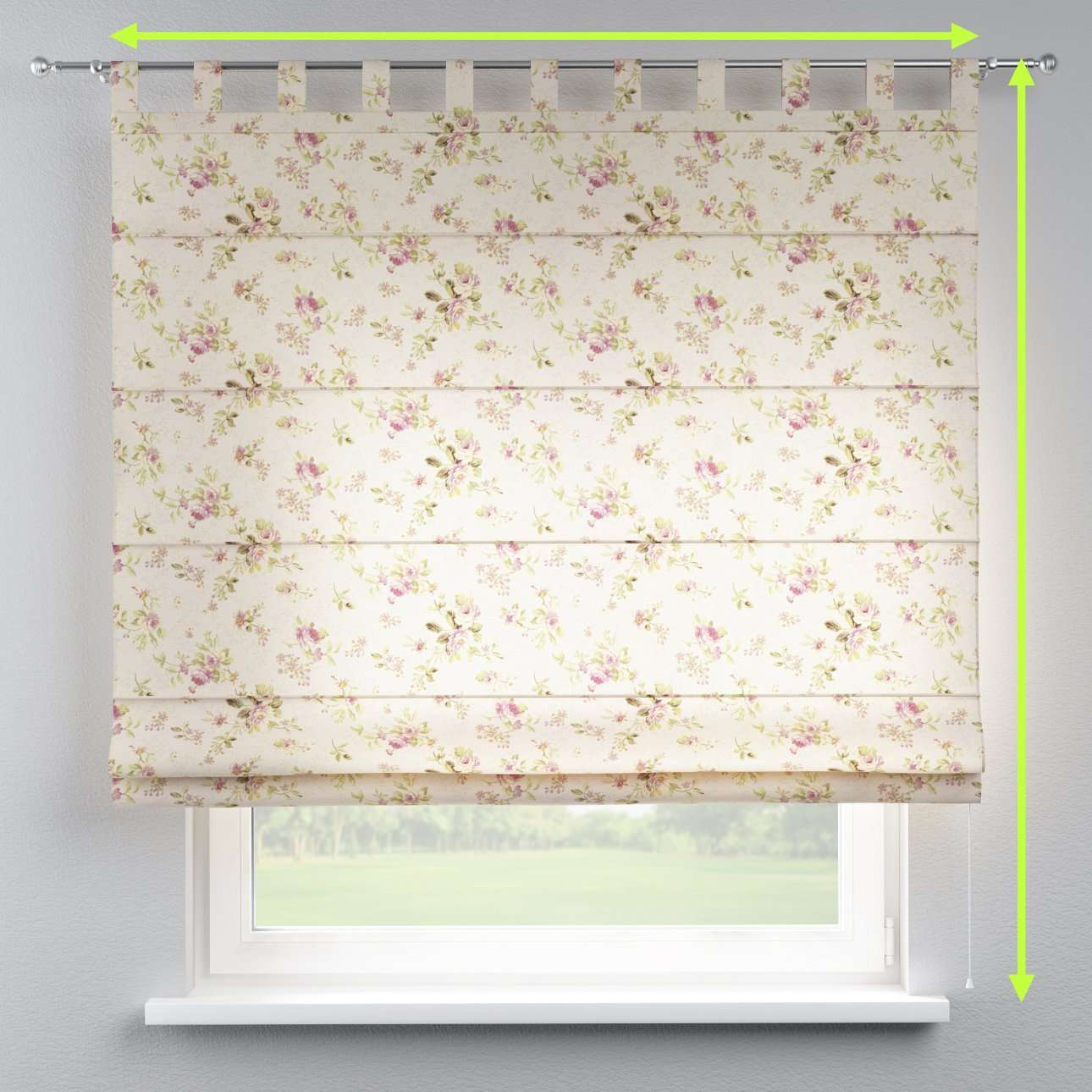 Verona tab top roman blind in collection Londres, fabric: 122-07