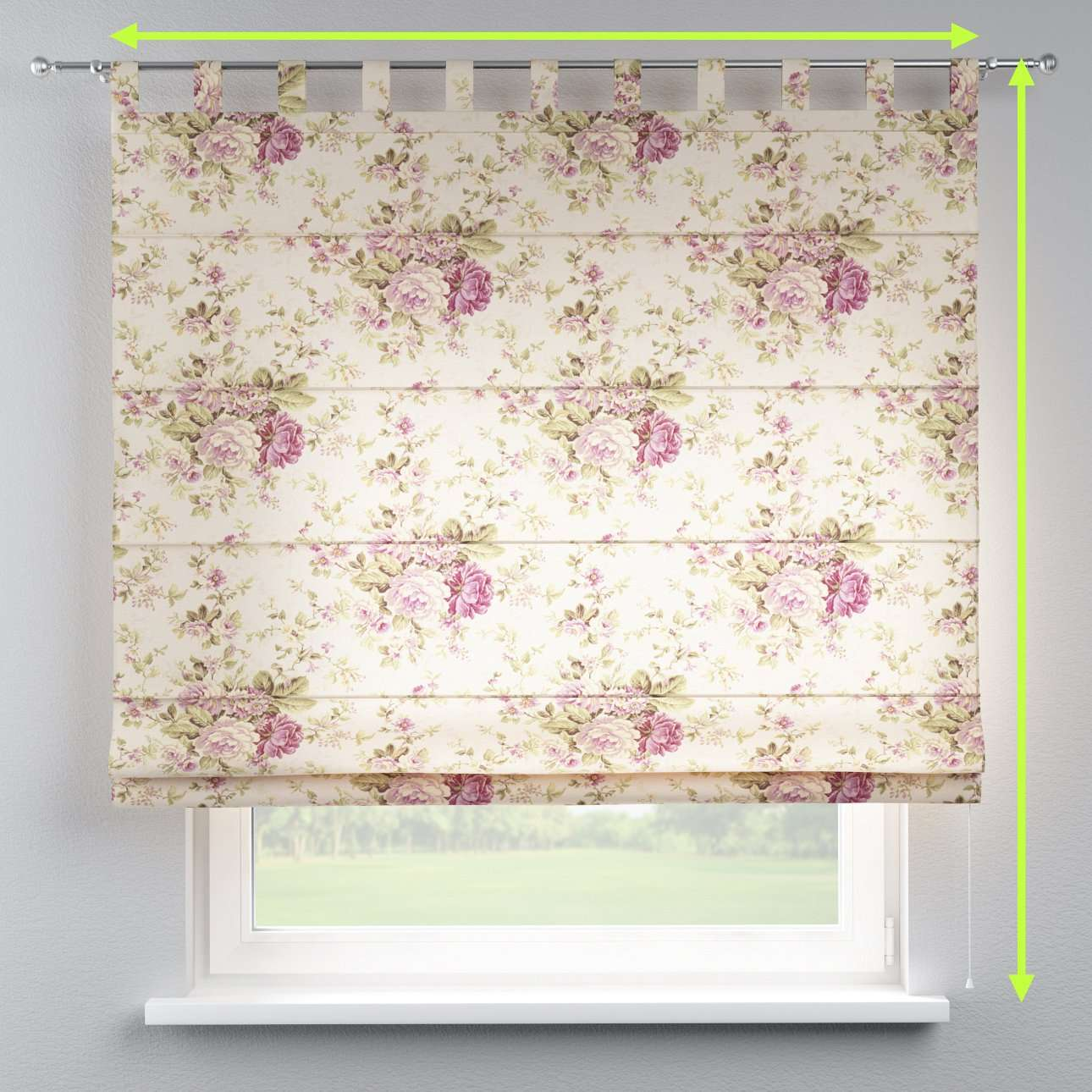 Verona tab top roman blind in collection Londres, fabric: 122-08