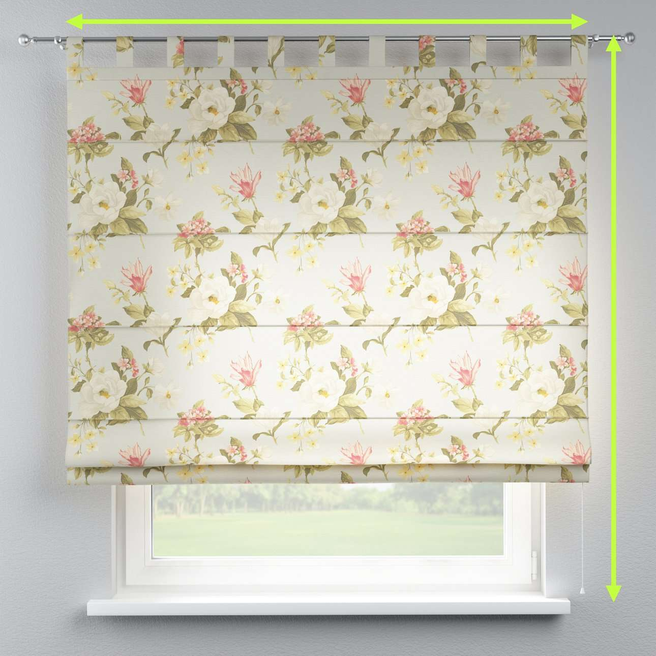 Verona tab top roman blind in collection Londres, fabric: 123-65