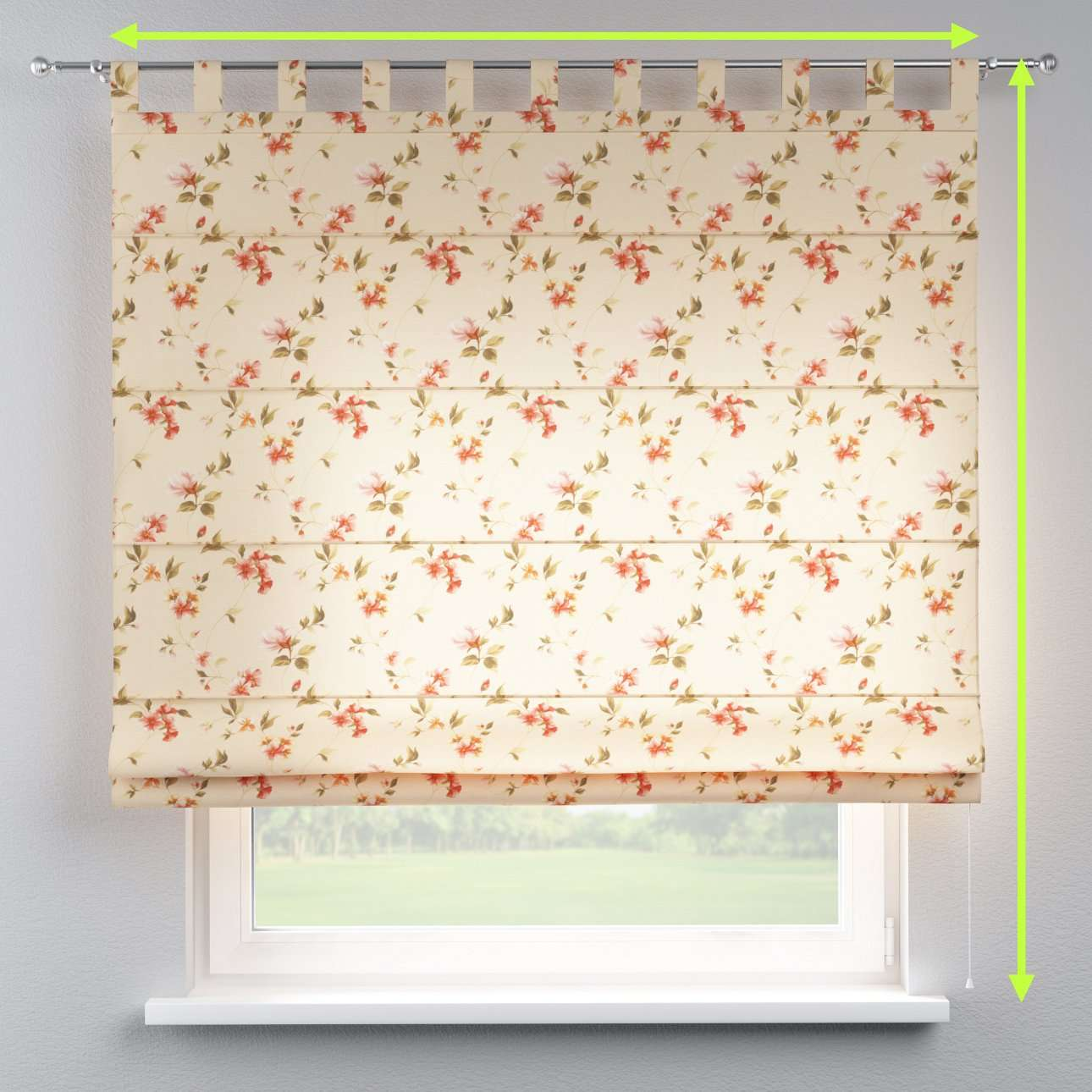 Verona tab top roman blind in collection Londres, fabric: 124-05