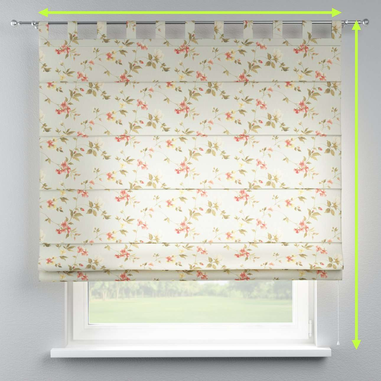 Verona tab top roman blind in collection Londres, fabric: 124-65