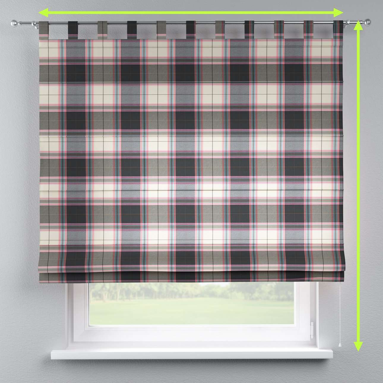 Verona tab top roman blind in collection Bristol, fabric: 125-32