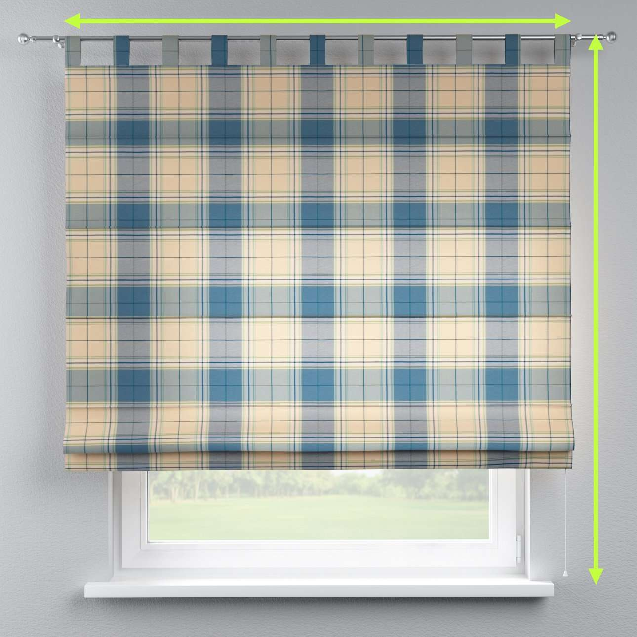 Verona tab top roman blind in collection Bristol, fabric: 125-69