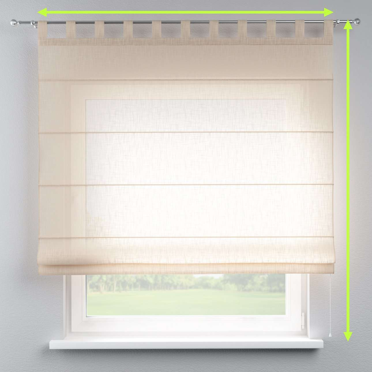 Verona tab top roman blind in collection Romantica, fabric: 128-01