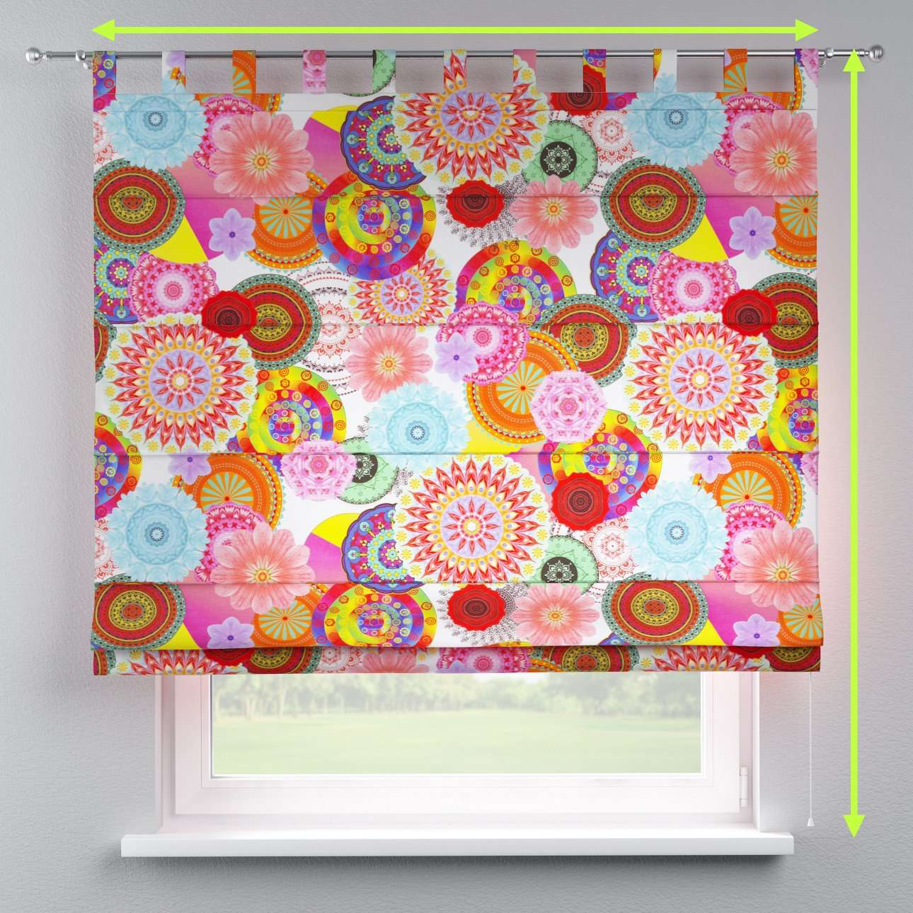 Verona tab top roman blind in collection Comic Book & Geo Prints, fabric: 135-22