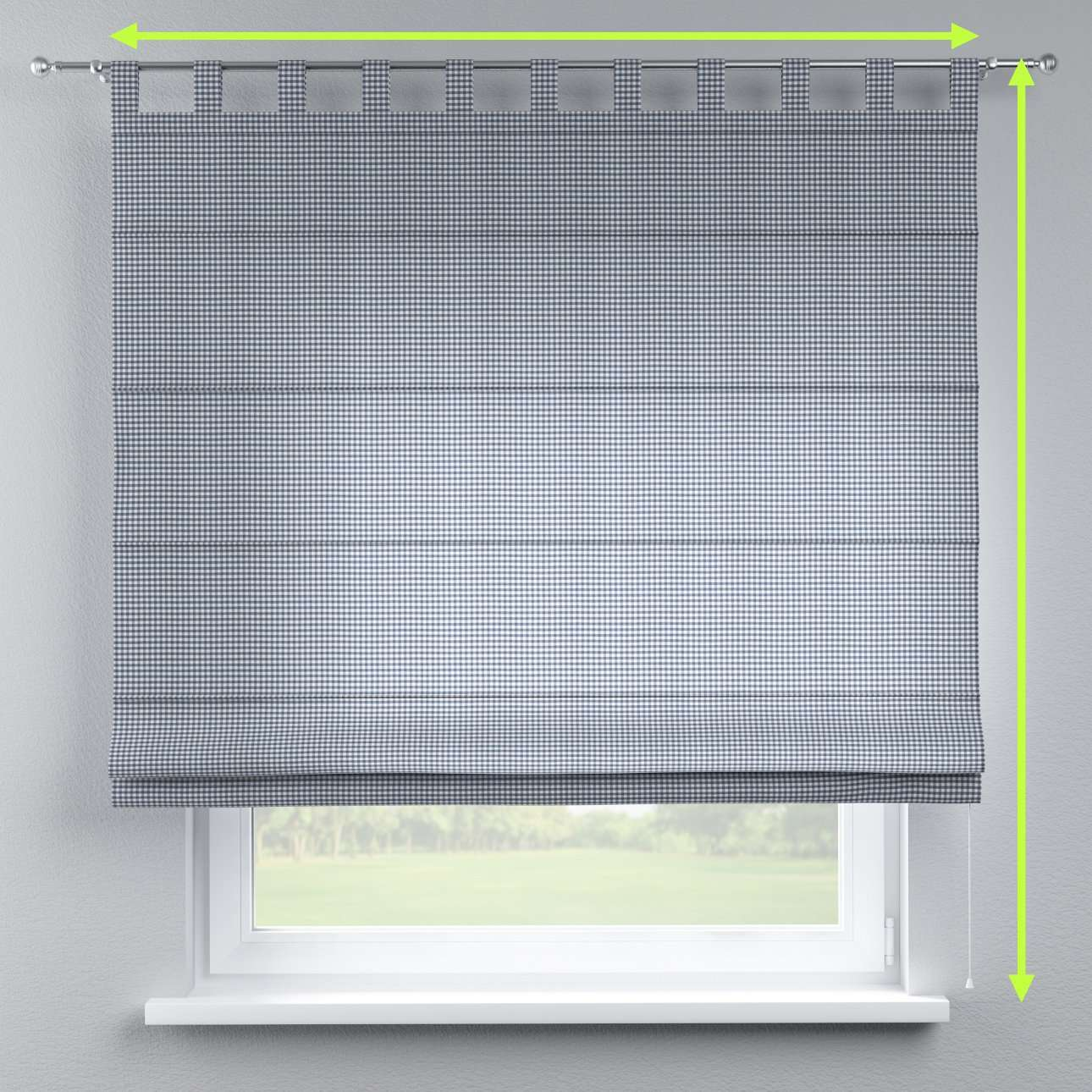 Verona tab top roman blind in collection Quadro, fabric: 136-00