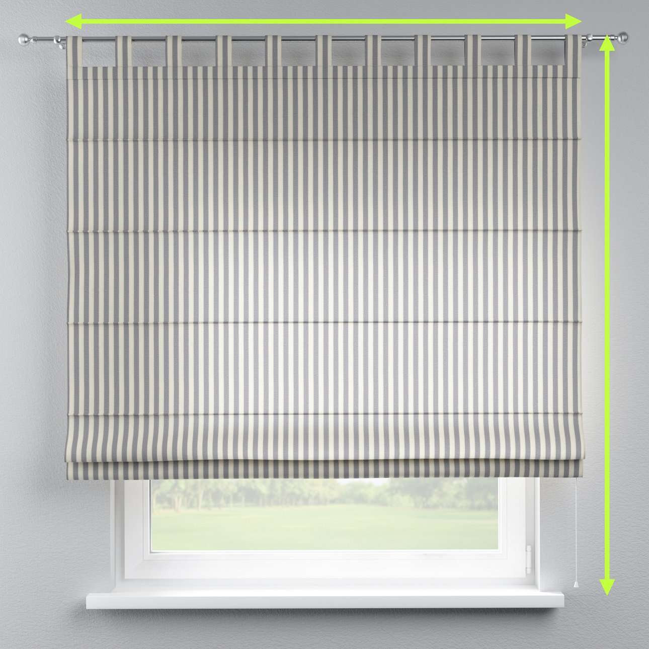 Verona tab top roman blind in collection Quadro, fabric: 136-02