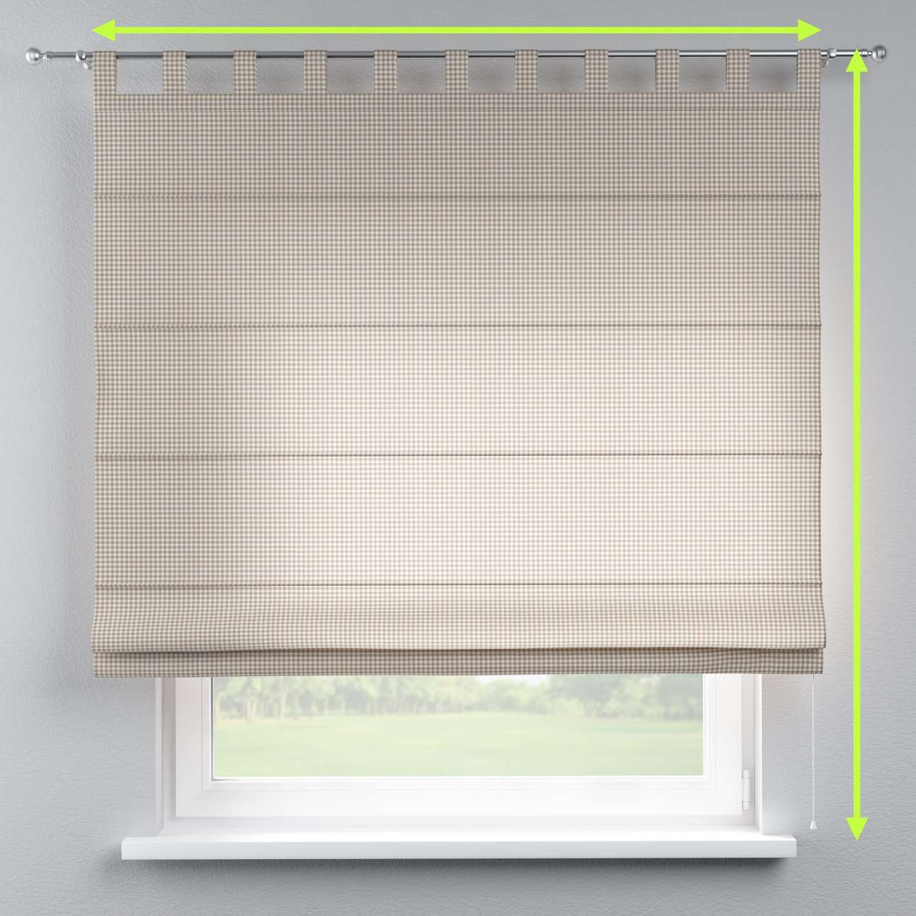 Verona tab top roman blind in collection Quadro, fabric: 136-05