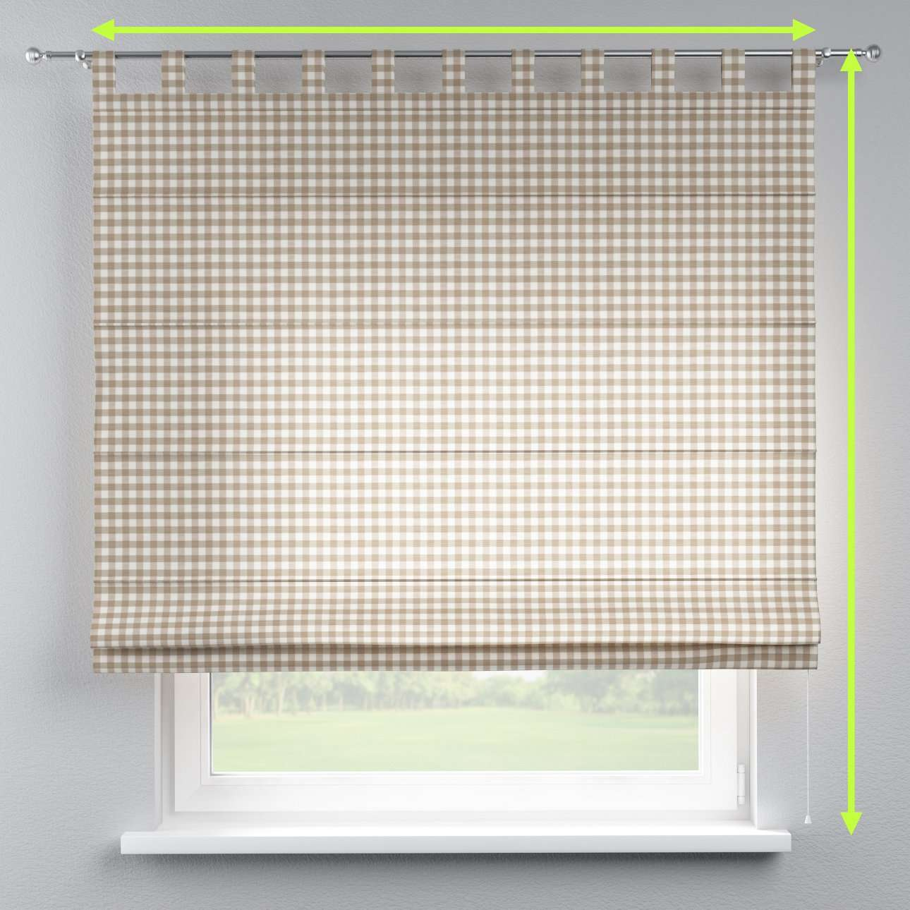 Verona tab top roman blind in collection Quadro, fabric: 136-06