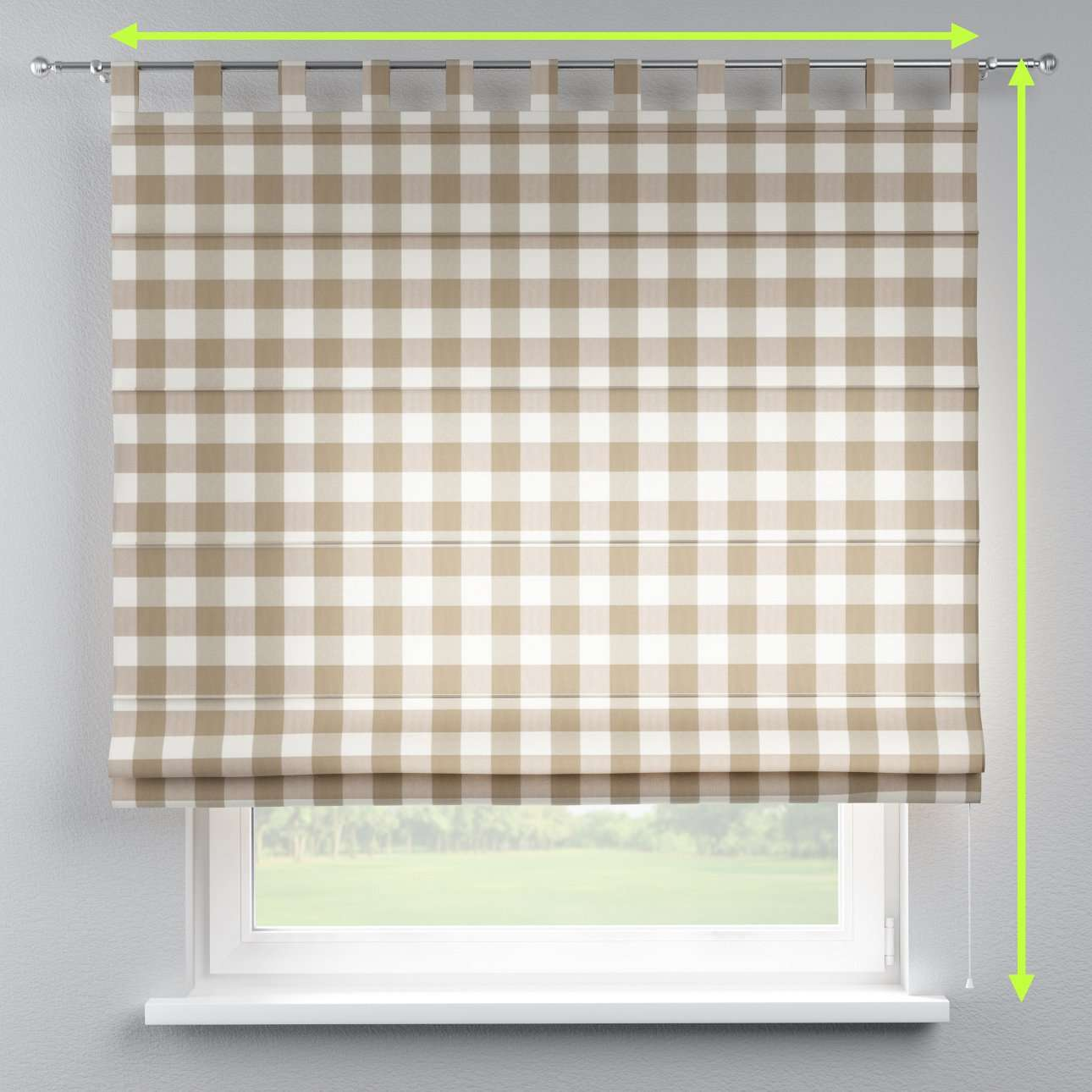 Verona tab top roman blind in collection Quadro, fabric: 136-08