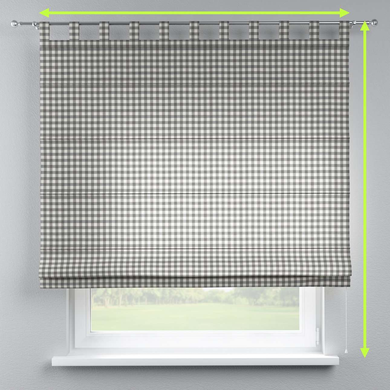 Verona tab top roman blind in collection Quadro, fabric: 136-11