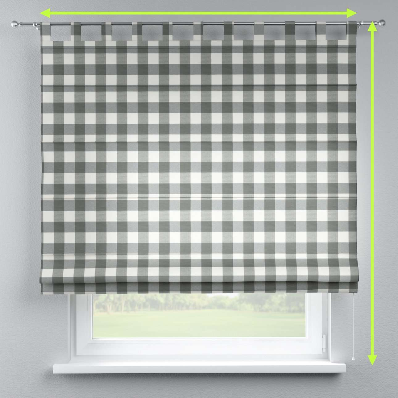 Verona tab top roman blind in collection Quadro, fabric: 136-13