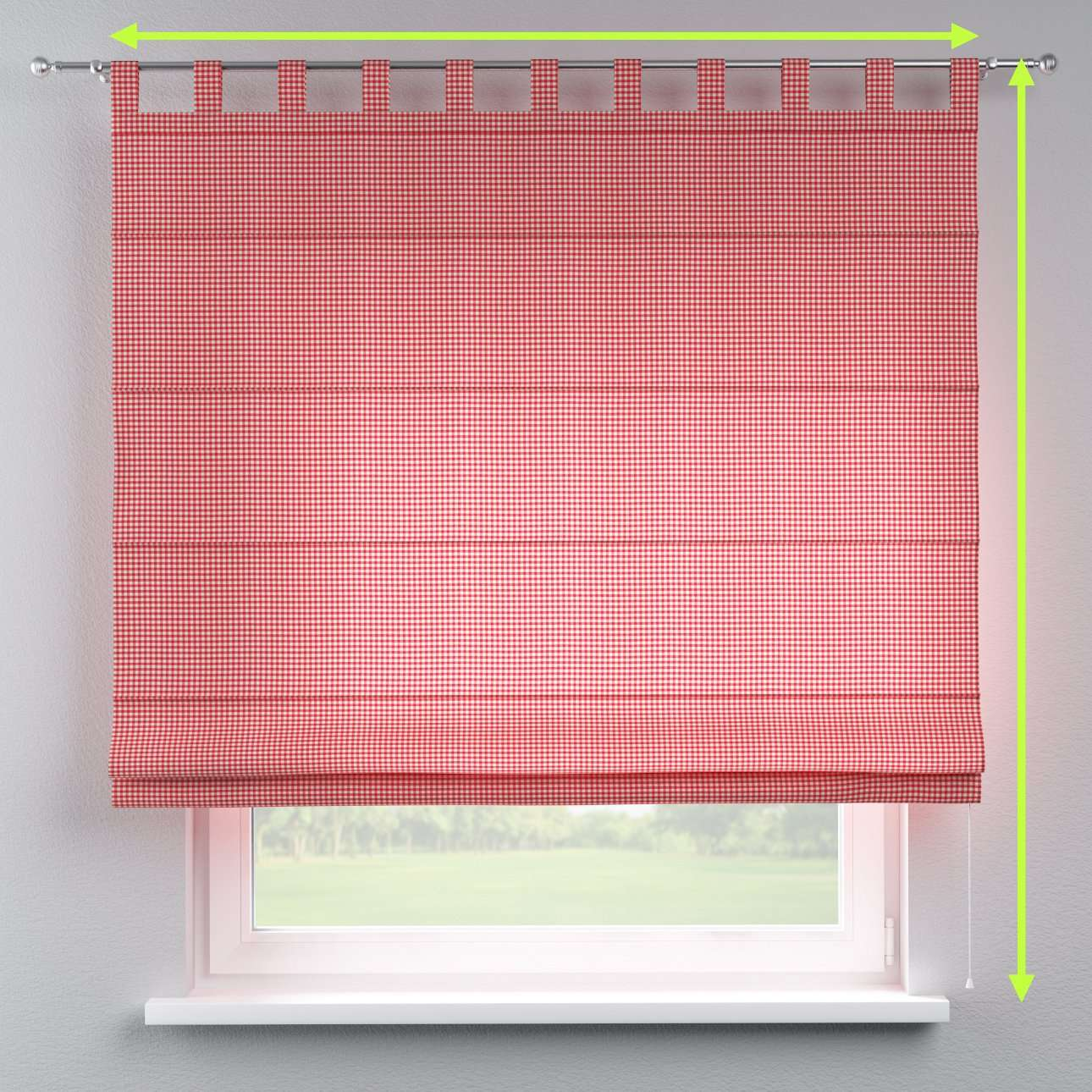 Verona tab top roman blind in collection Quadro, fabric: 136-15
