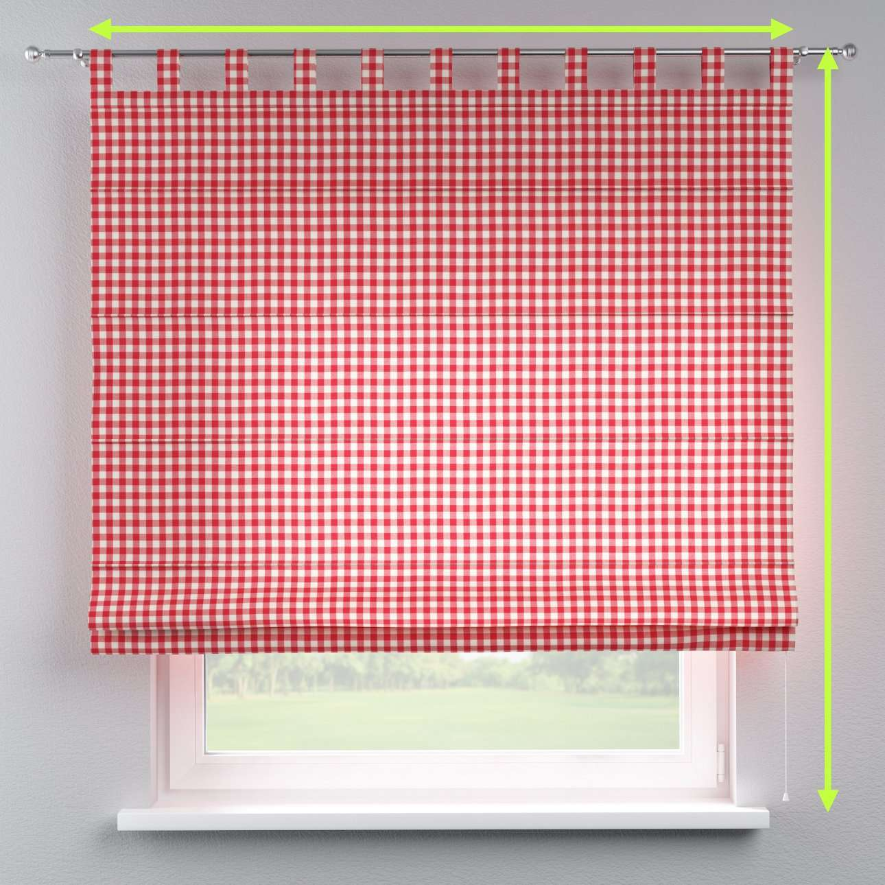 Verona tab top roman blind in collection Quadro, fabric: 136-16