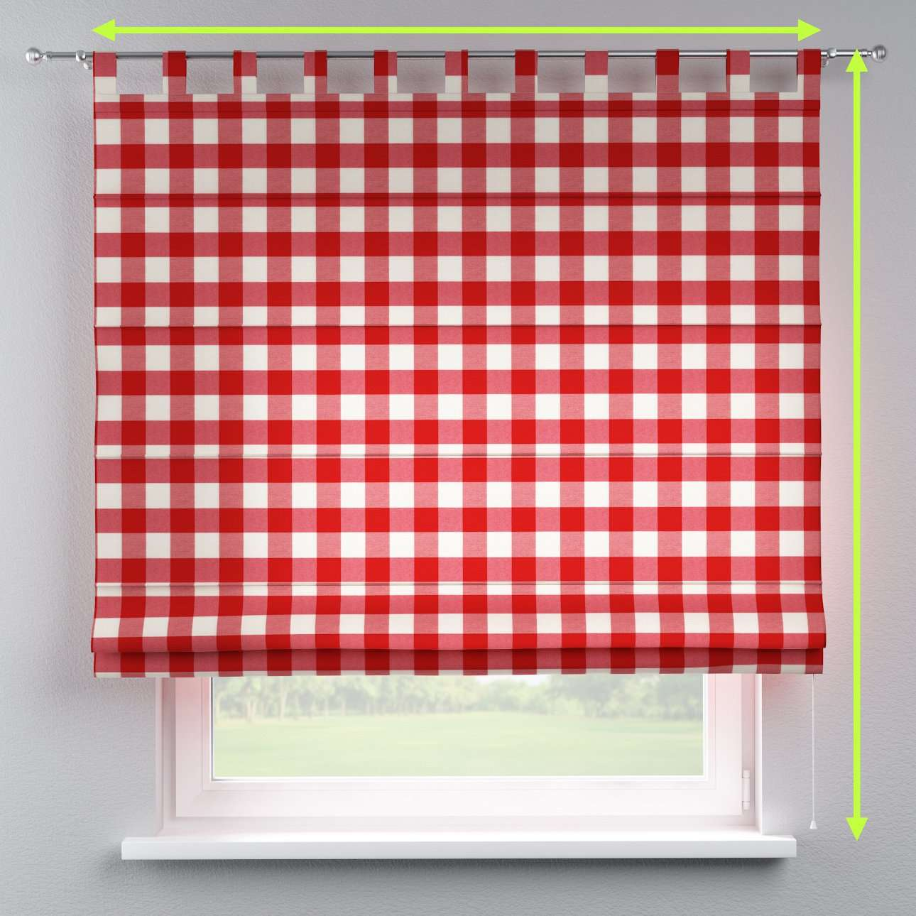 Verona tab top roman blind in collection Quadro, fabric: 136-18