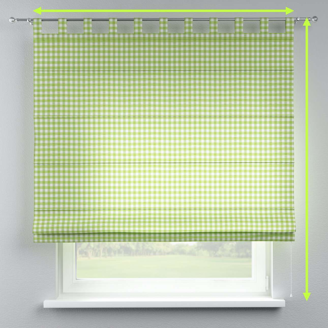 Verona tab top roman blind in collection Quadro, fabric: 136-34