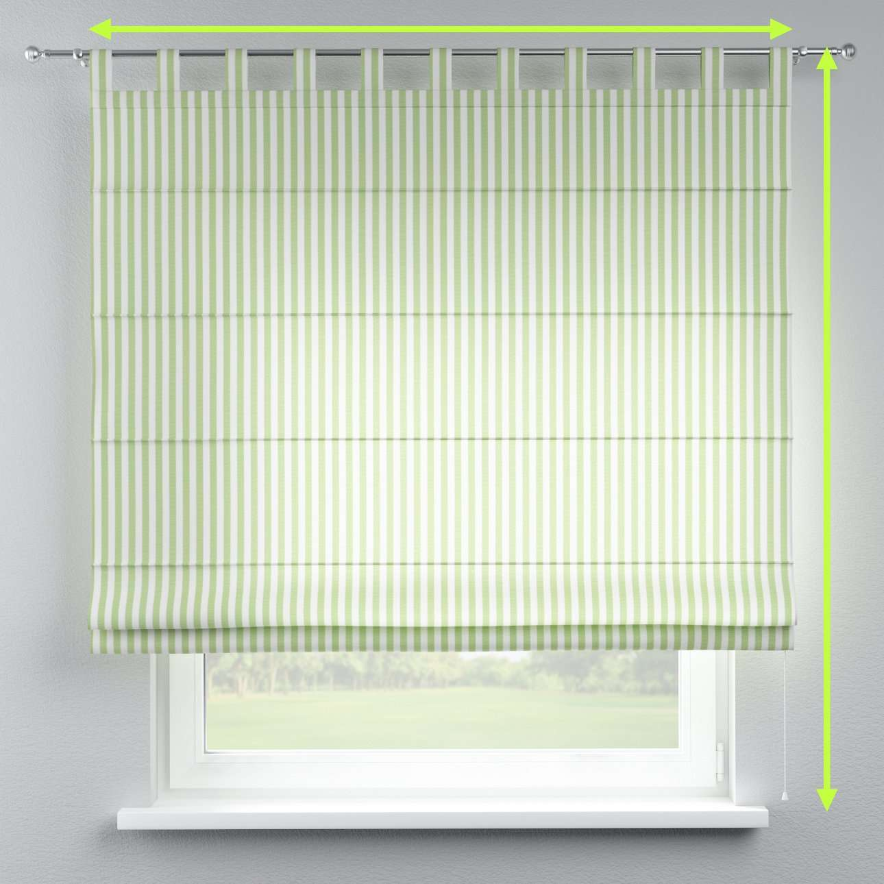 Verona tab top roman blind in collection Quadro, fabric: 136-35