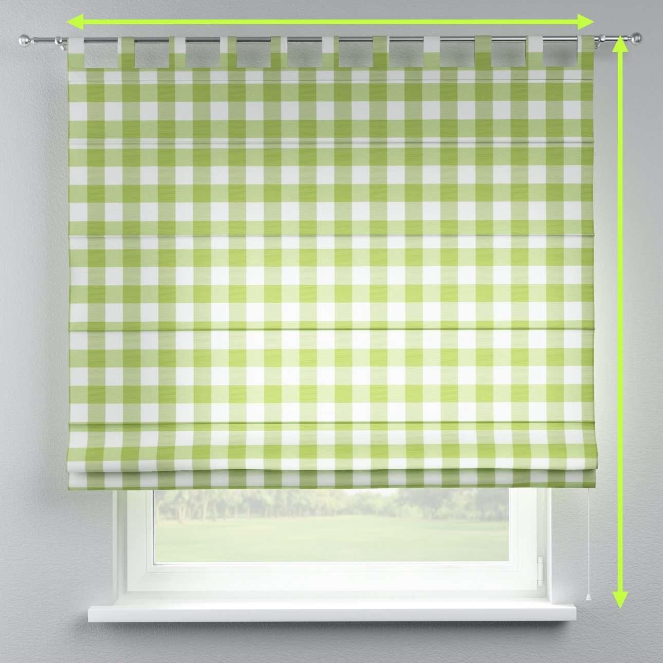 Verona tab top roman blind in collection Quadro, fabric: 136-36