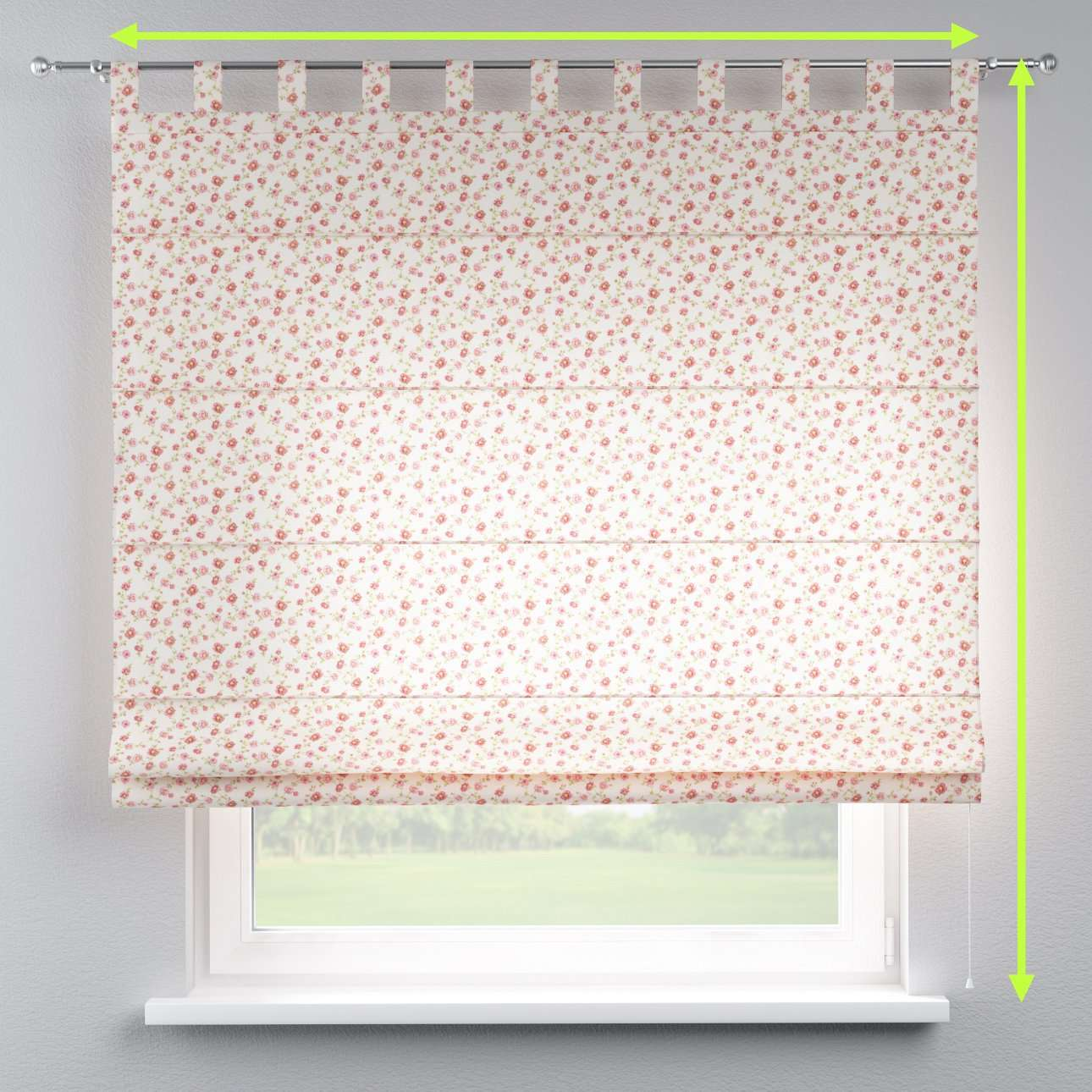Verona tab top roman blind in collection Ashley, fabric: 137-49