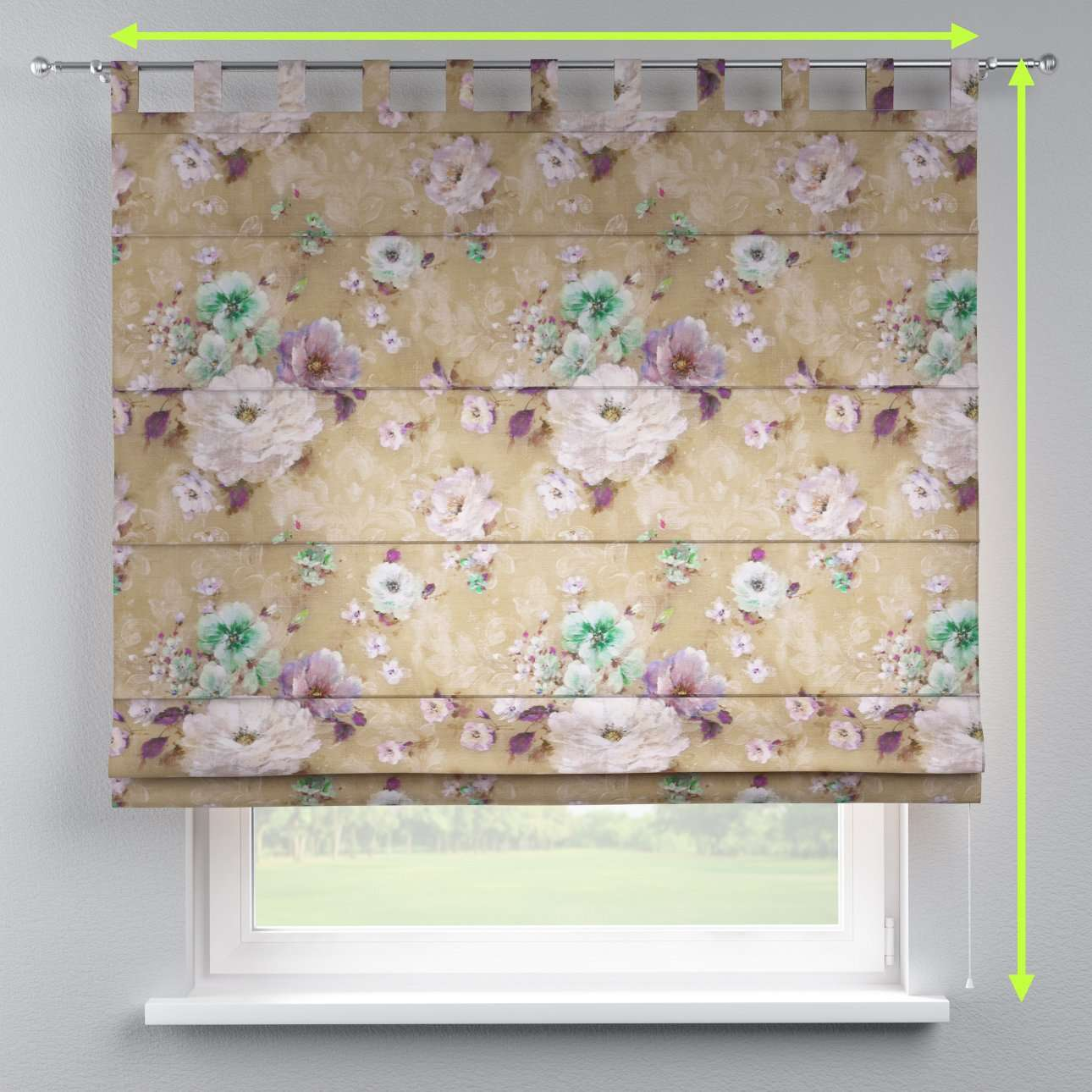 Verona tab top roman blind in collection Monet, fabric: 137-82