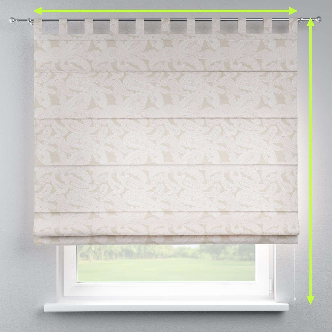 Verona tab top roman blind in collection Rustica, fabric: 138-10