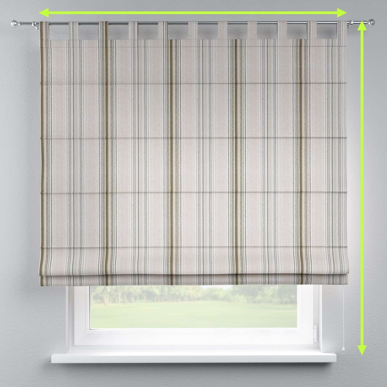 Verona tab top roman blind in collection Rustica, fabric: 138-13