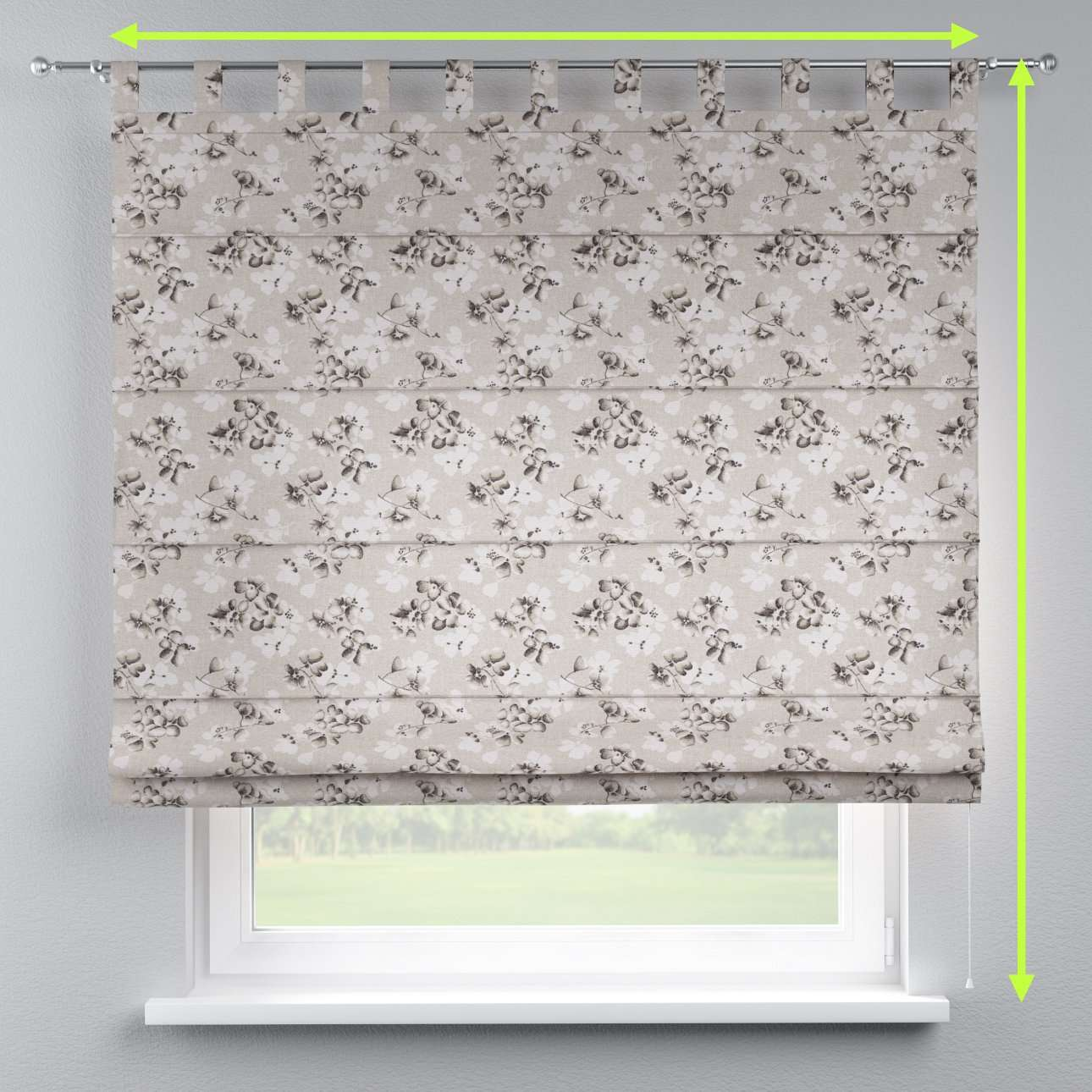 Verona tab top roman blind in collection Rustica, fabric: 138-14