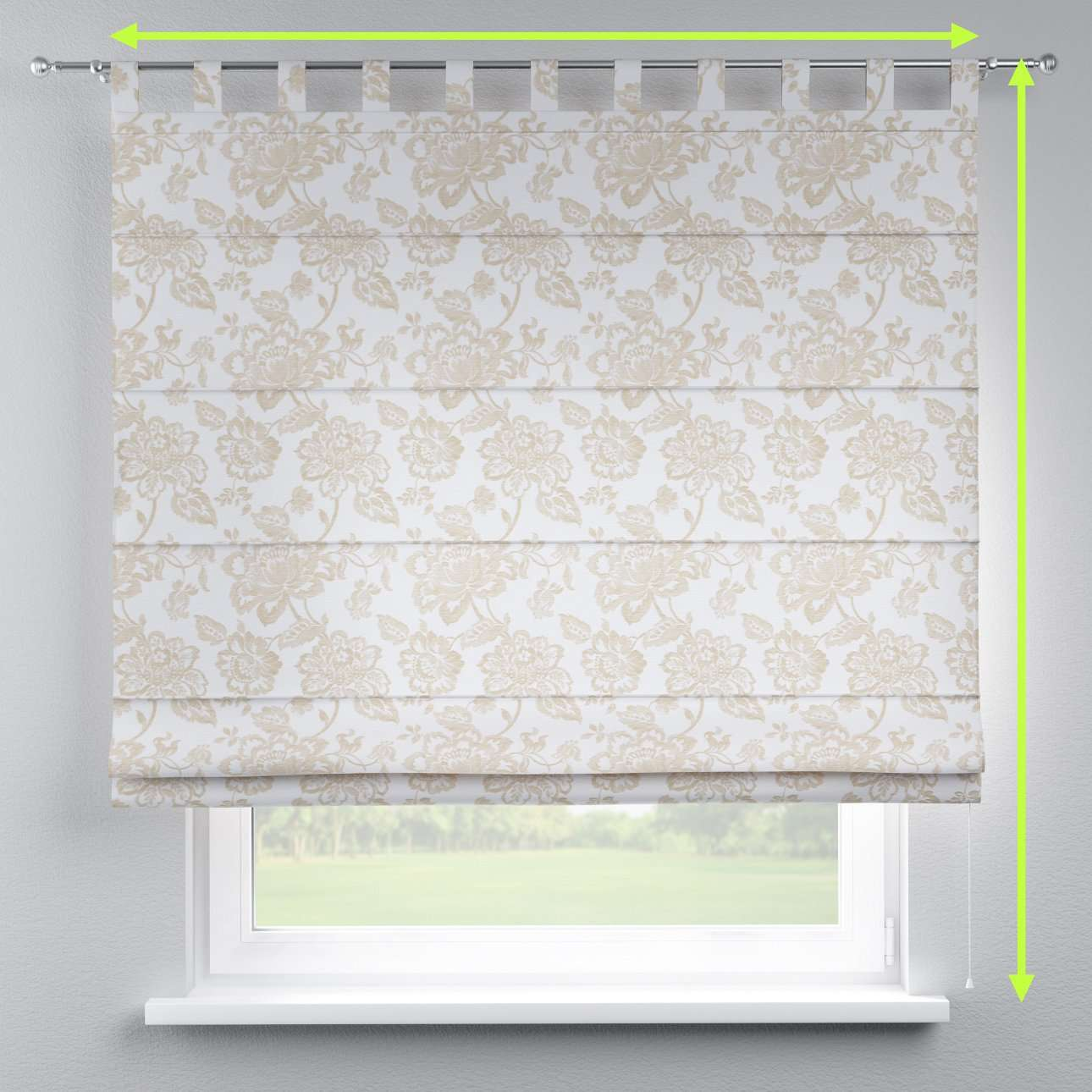Verona tab top roman blind in collection Rustica, fabric: 138-23
