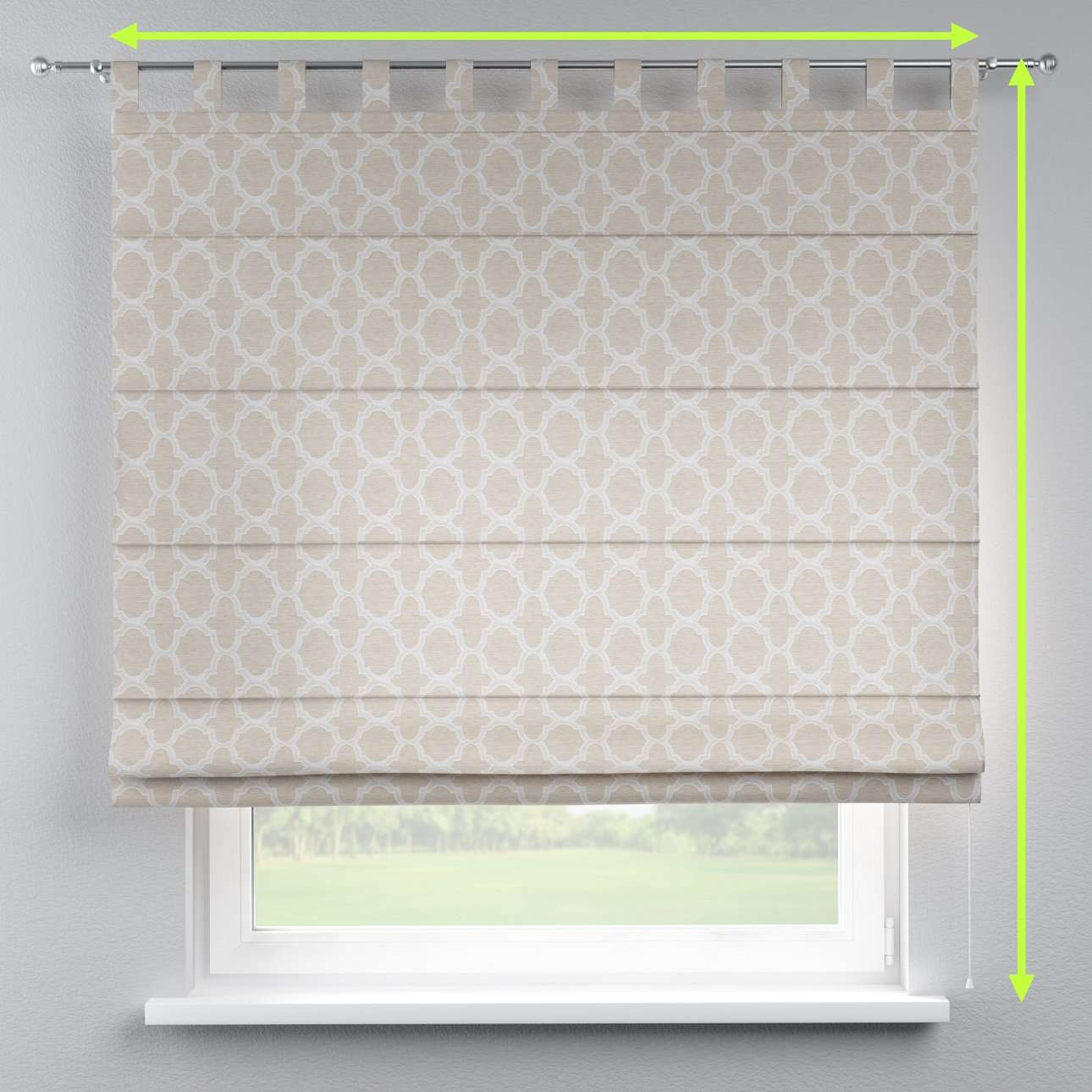 Verona tab top roman blind in collection Rustica, fabric: 138-25
