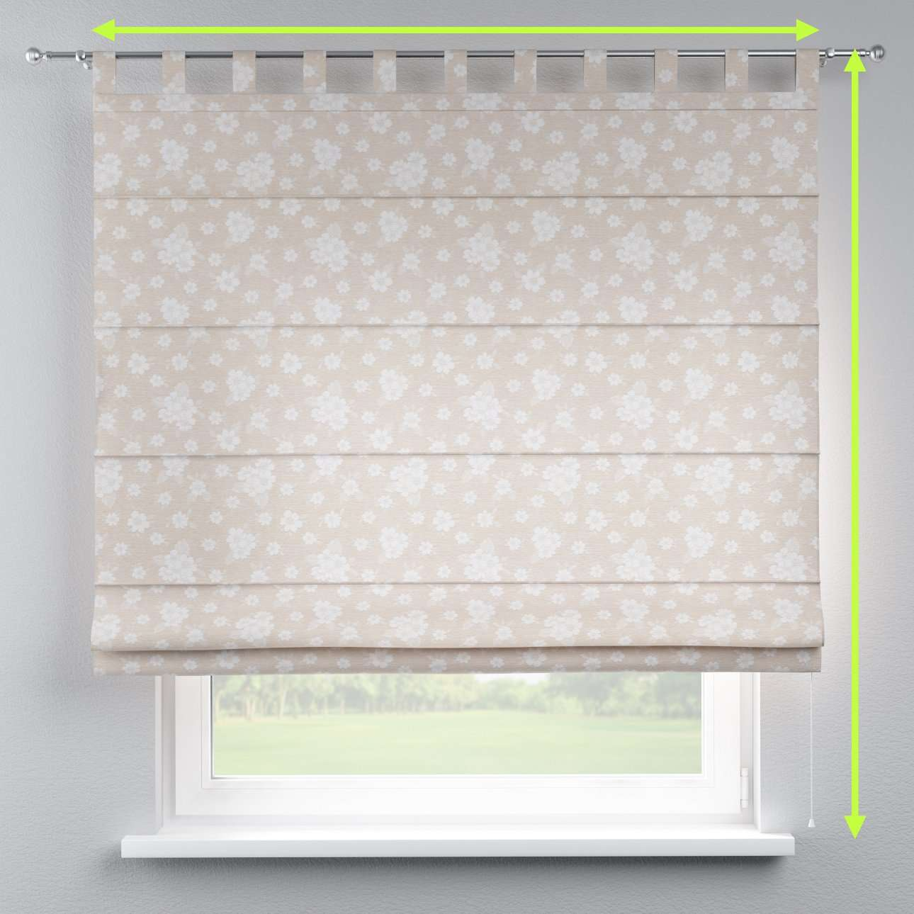 Verona tab top roman blind in collection Rustica, fabric: 138-26