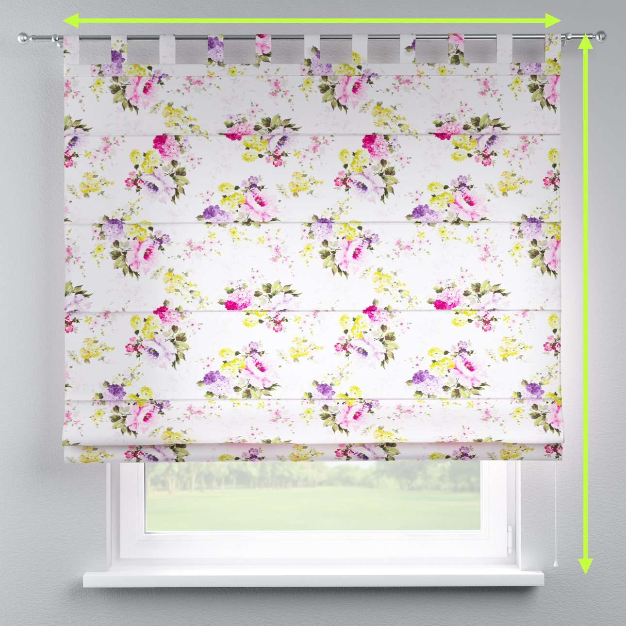 Verona tab top roman blind in collection Monet, fabric: 140-00