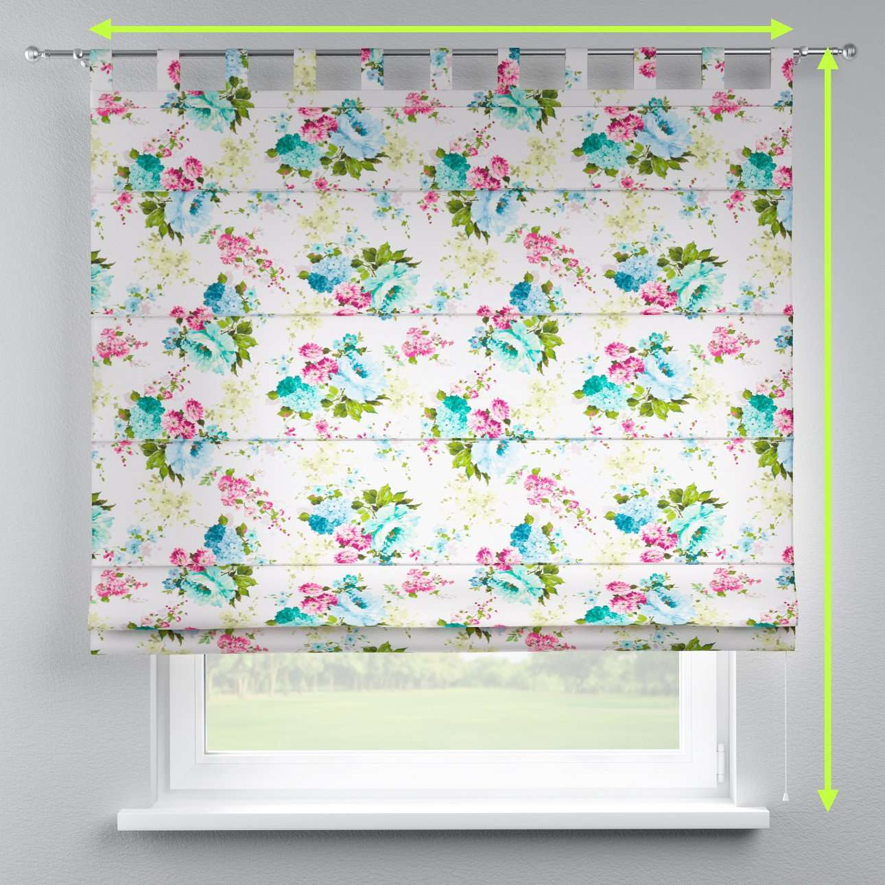 Verona tab top roman blind in collection Monet, fabric: 140-02