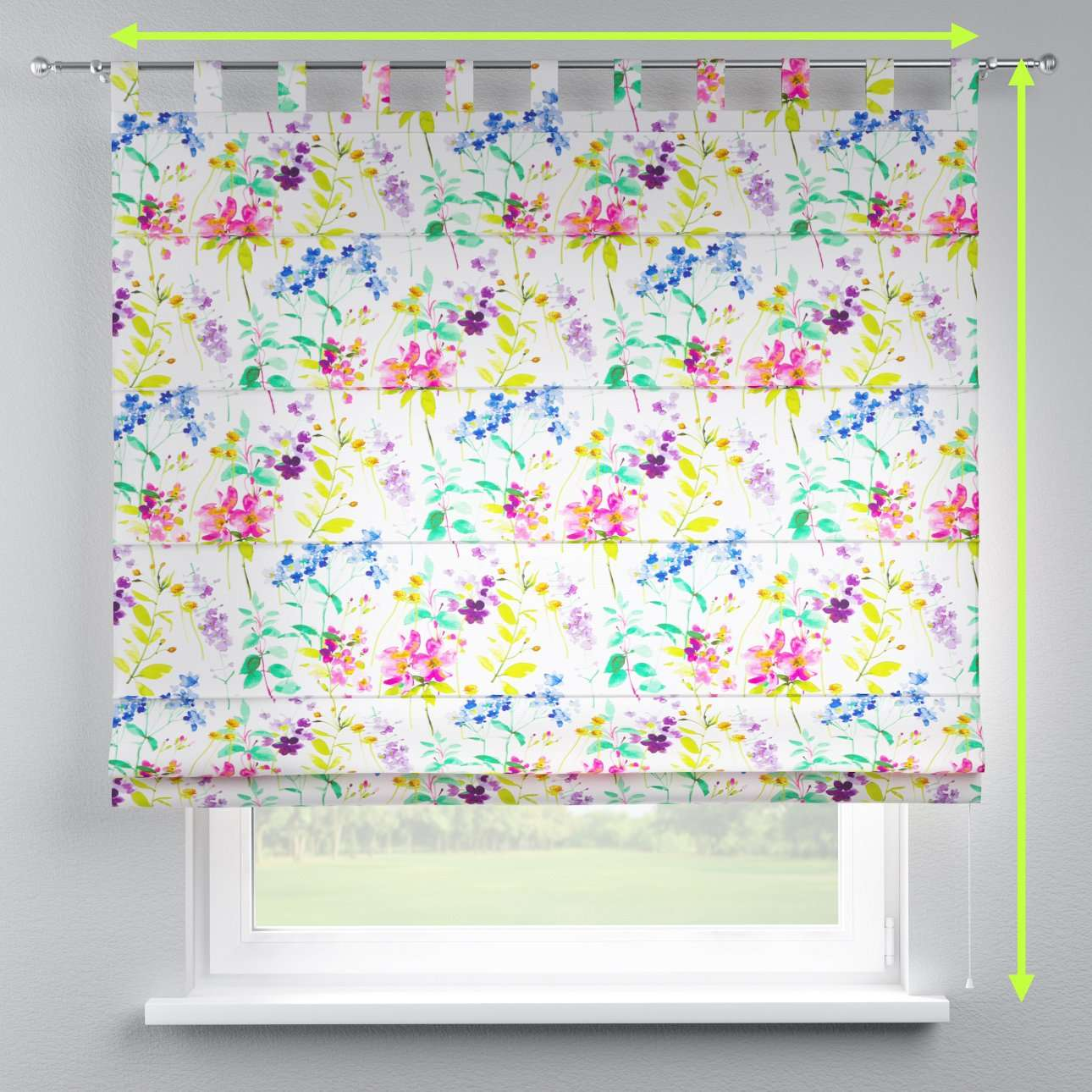 Verona tab top roman blind in collection Monet, fabric: 140-06