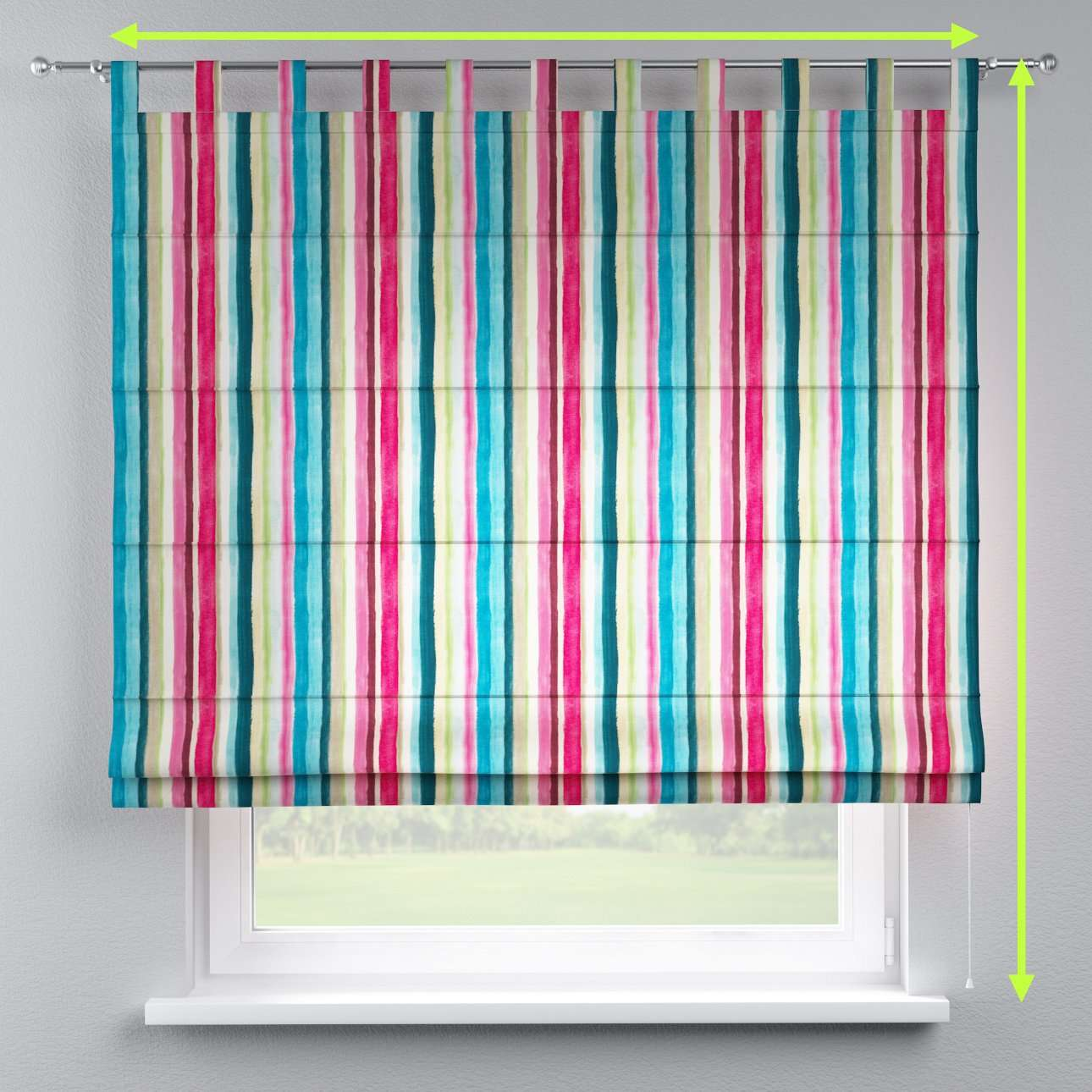 Verona tab top roman blind in collection Monet, fabric: 140-09