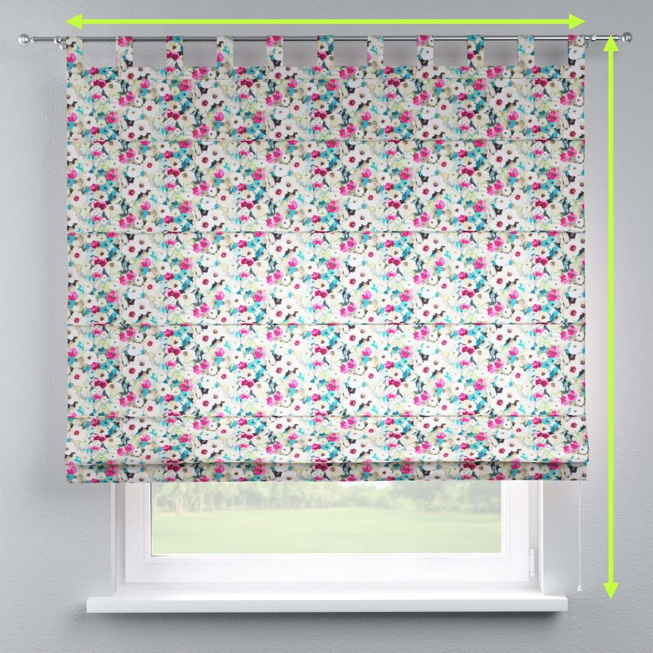 Verona tab top roman blind in collection Monet, fabric: 140-10
