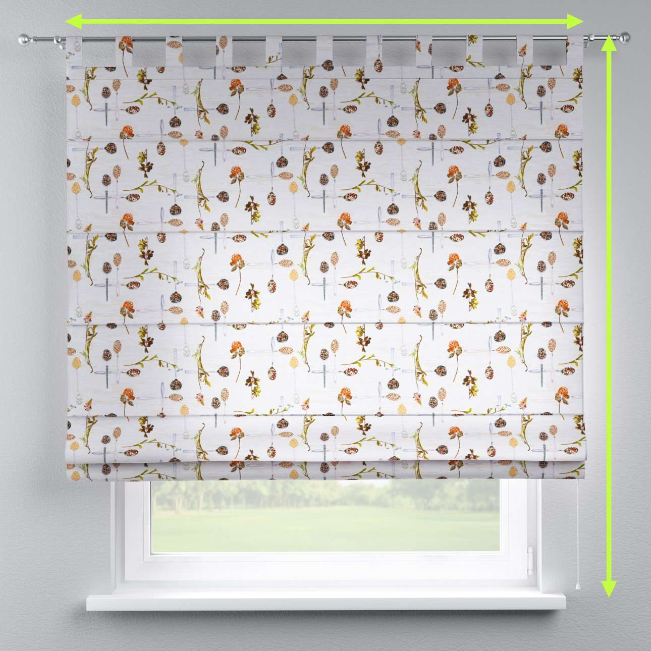 Verona tab top roman blind in collection Flowers, fabric: 140-11