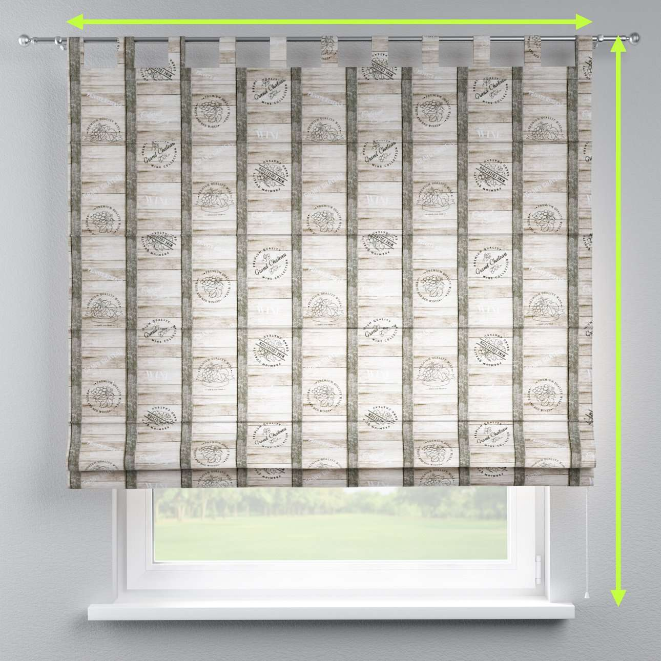 Verona tab top roman blind in collection Marina, fabric: 140-12