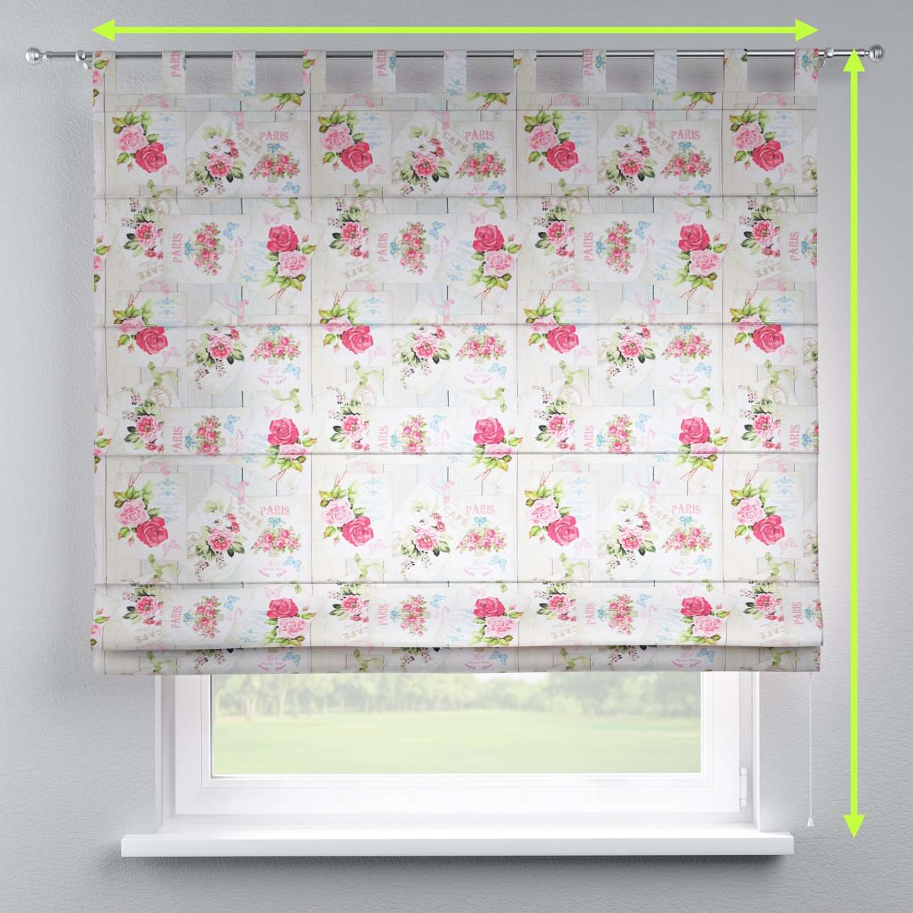 Verona tab top roman blind in collection Ashley, fabric: 140-19