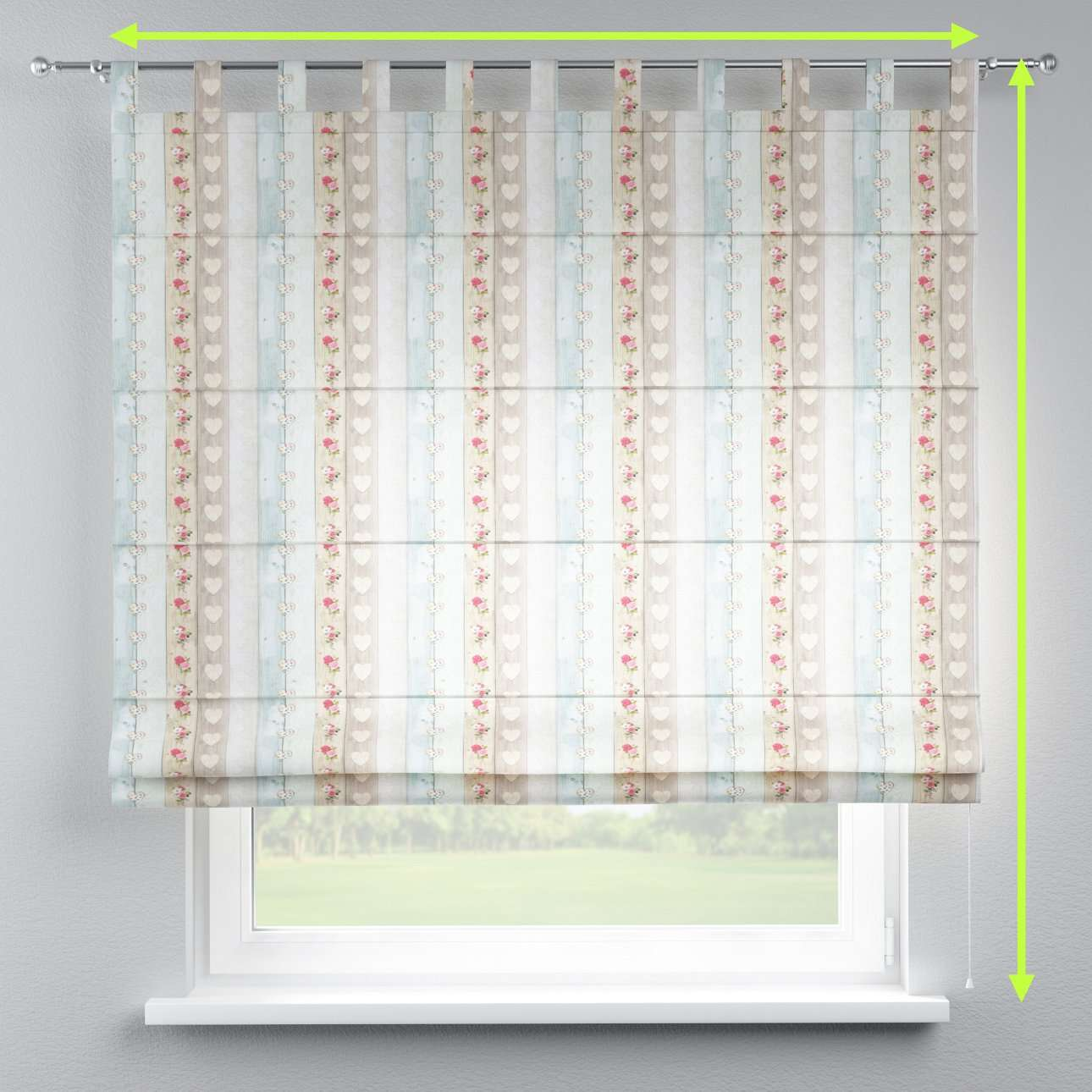 Verona tab top roman blind in collection Ashley, fabric: 140-20