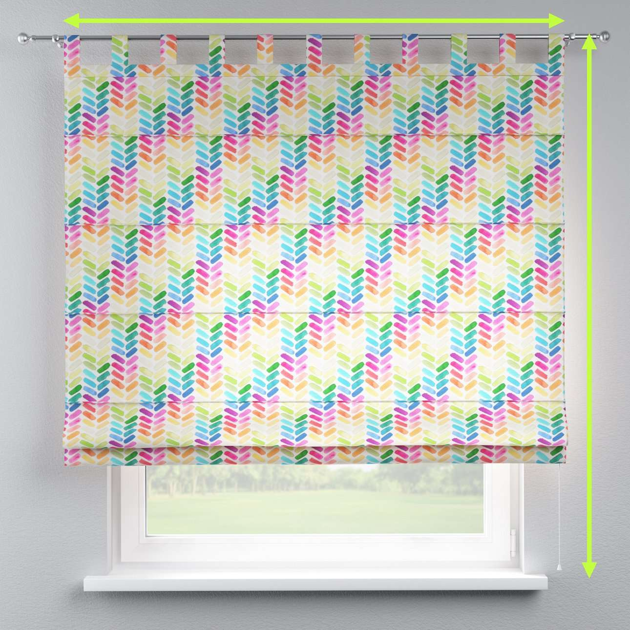 Verona tab top roman blind in collection New Art, fabric: 140-25